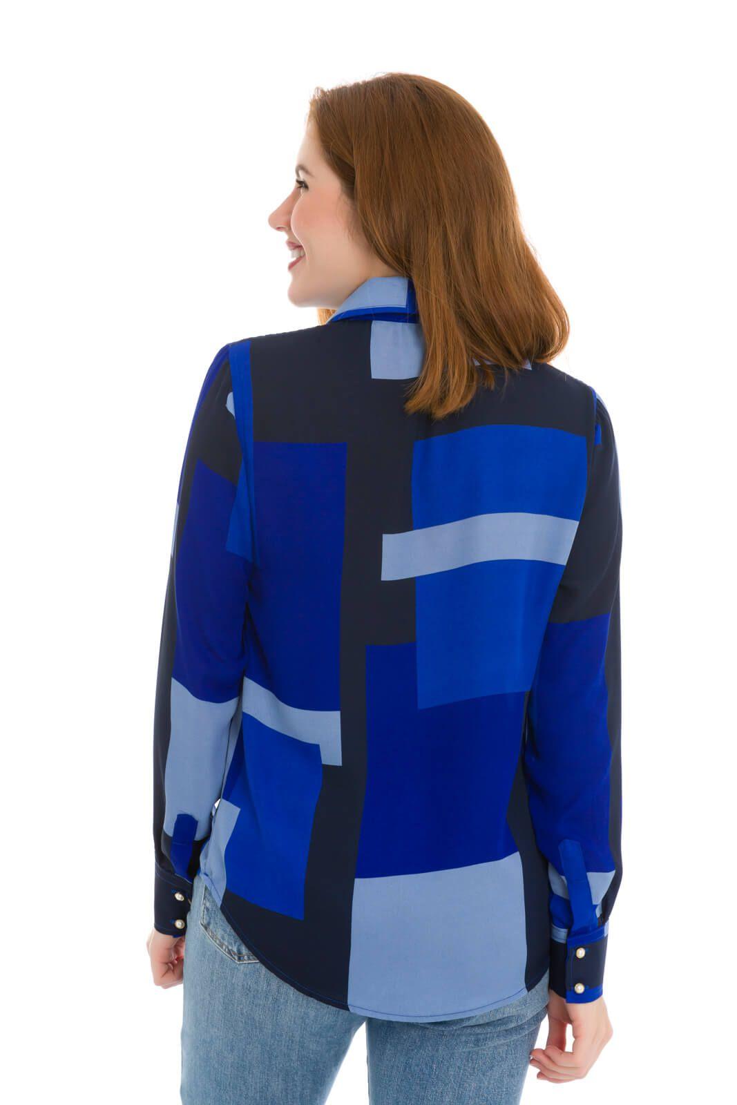Camisa Camisete Feminino Olimpo Crepe Estampado Manga Longa Azul