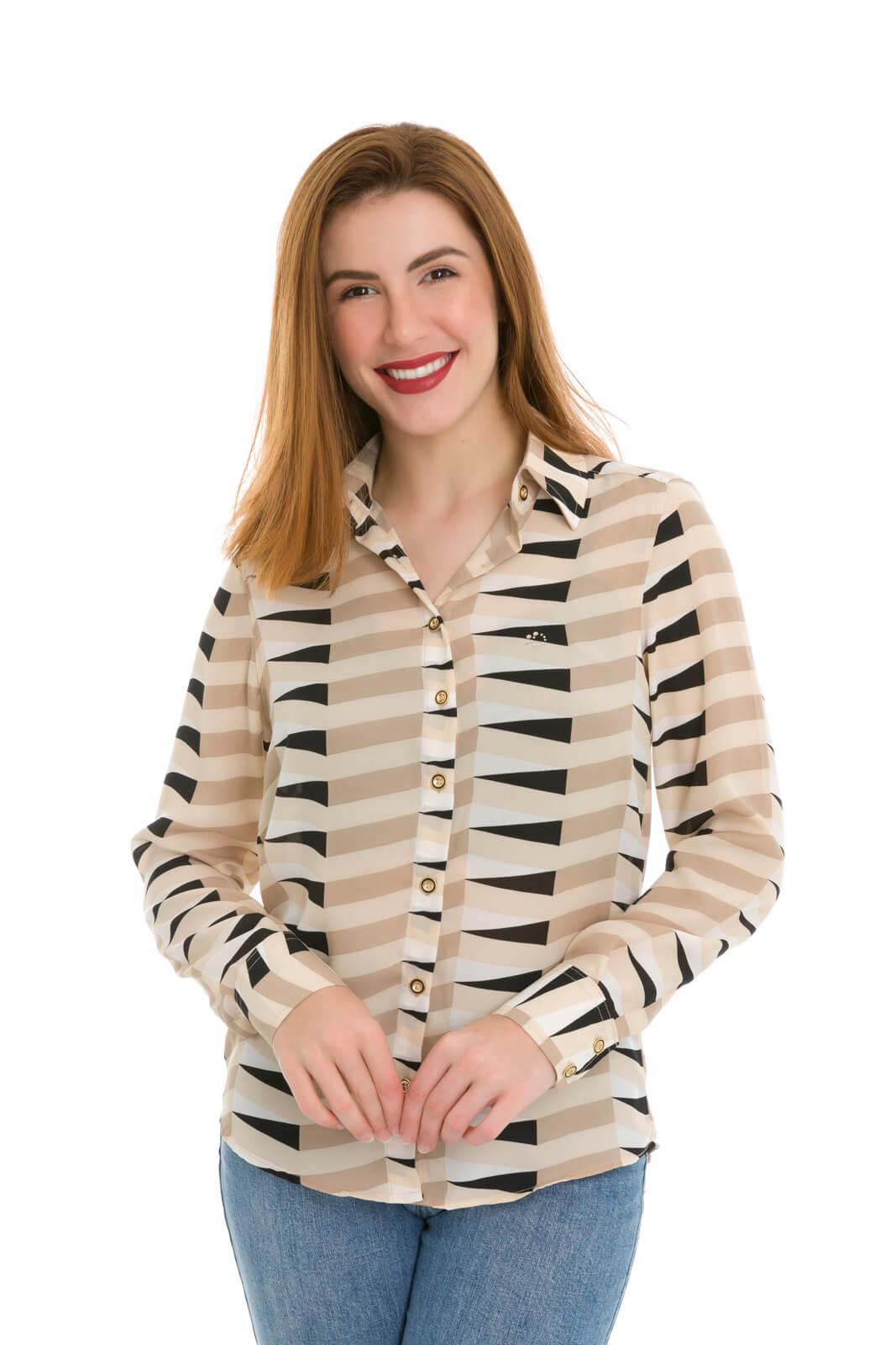 Camisa Camisete Feminino Olimpo Crepe Estampado Manga Longa Bege/Preto
