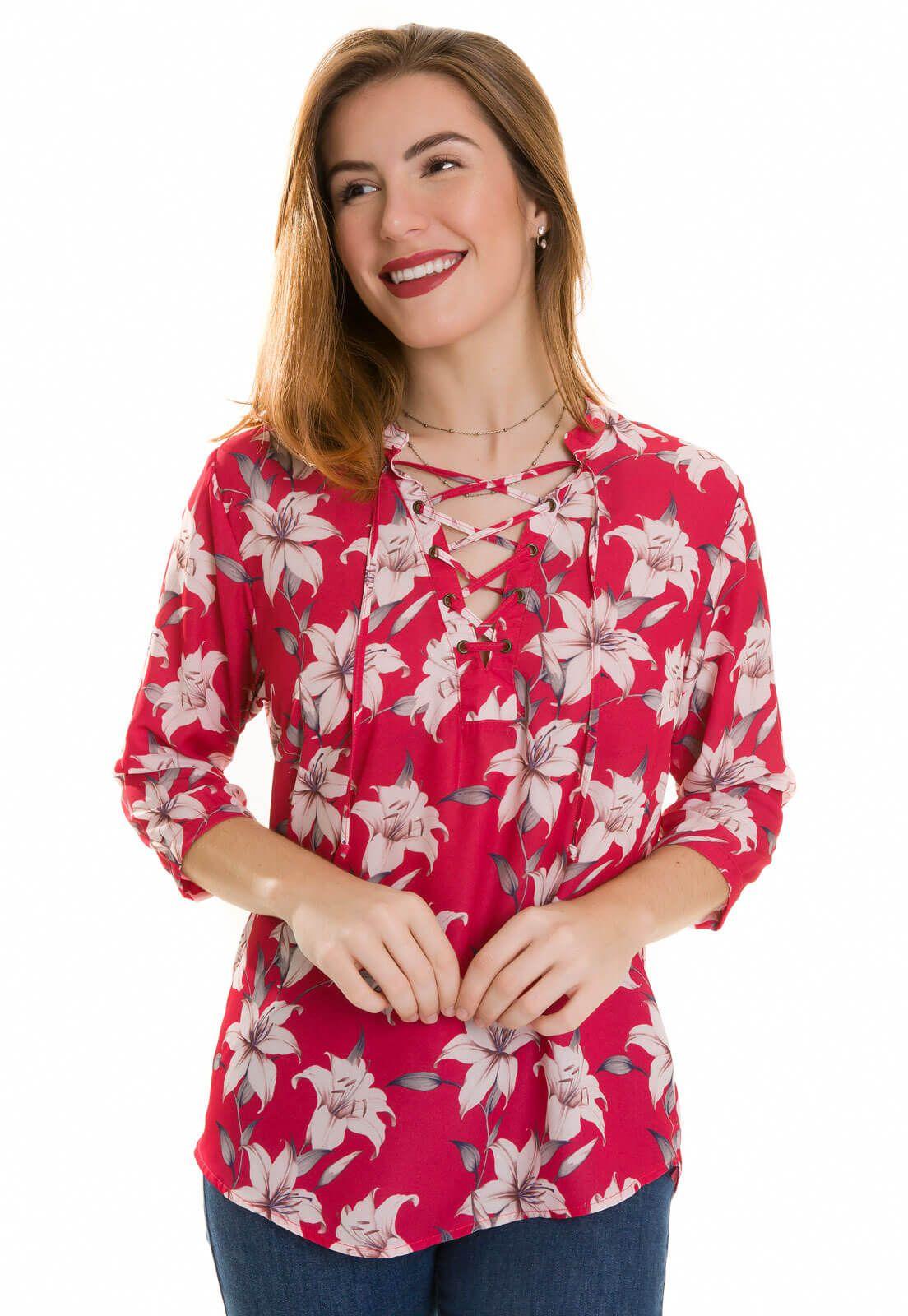 Camisa Camisete Feminino Olimpo Crepe Floral Manga ¾ Vermelha