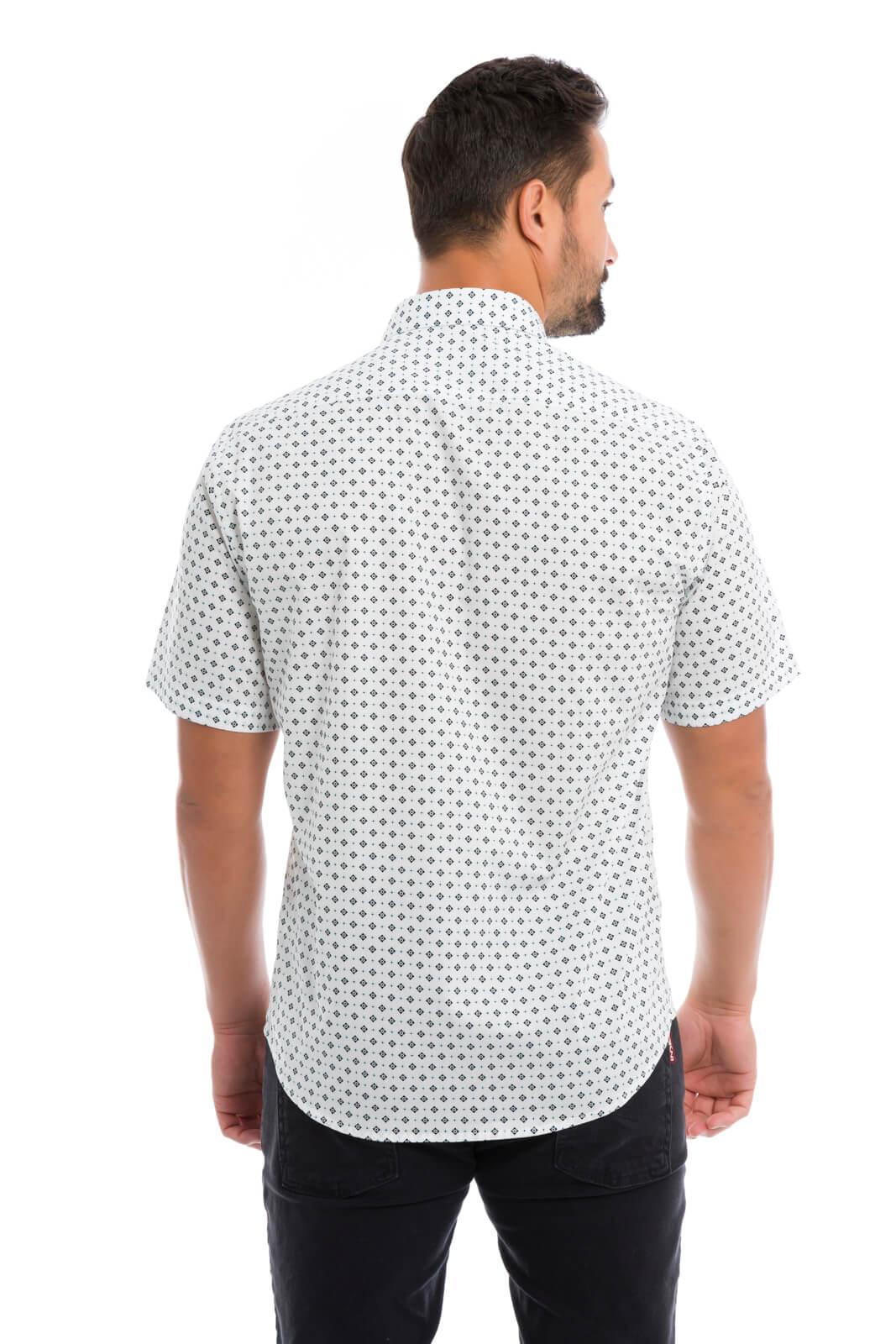 Camisa Social Masculina Slim Olimpo Estampada 100% Algodão Fio 50 Manga Curta Branca