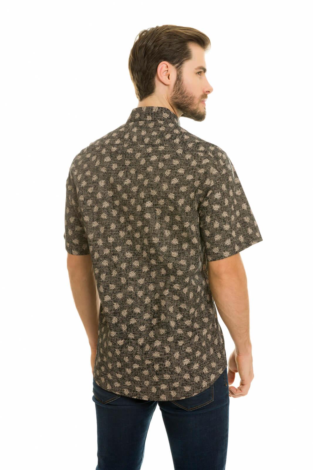 Camisa Social Masculina Olimpo Slim Estampada 100% Algodão Fio 50 Manga Curta Preta Floral