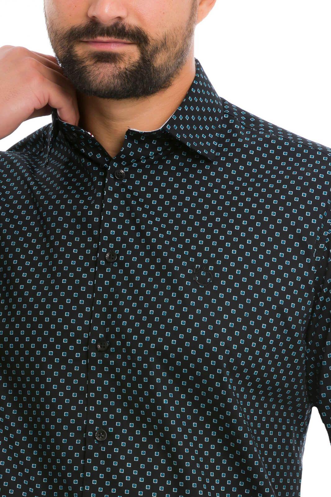 Camisa Social Slim Olimpo Estampada 100% Algodão Fio 50 Manga Longa