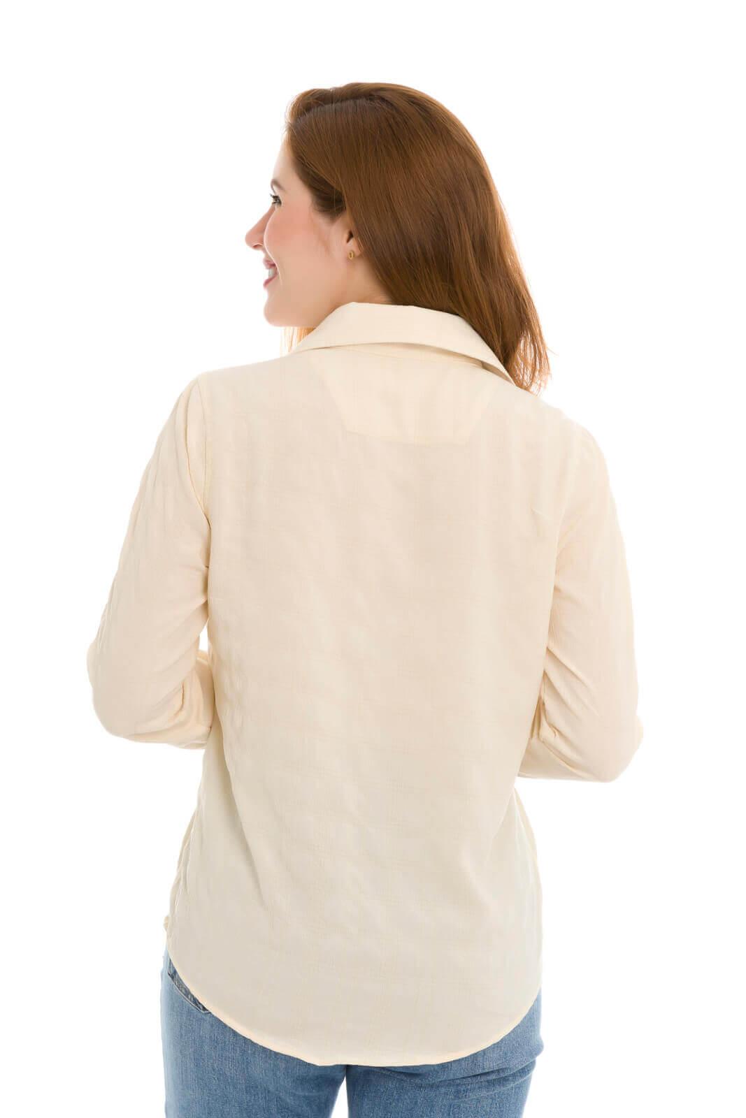 Camisa Camisete Feminino Olimpo Estampada Com Amarração Frente Manga Longa Bege