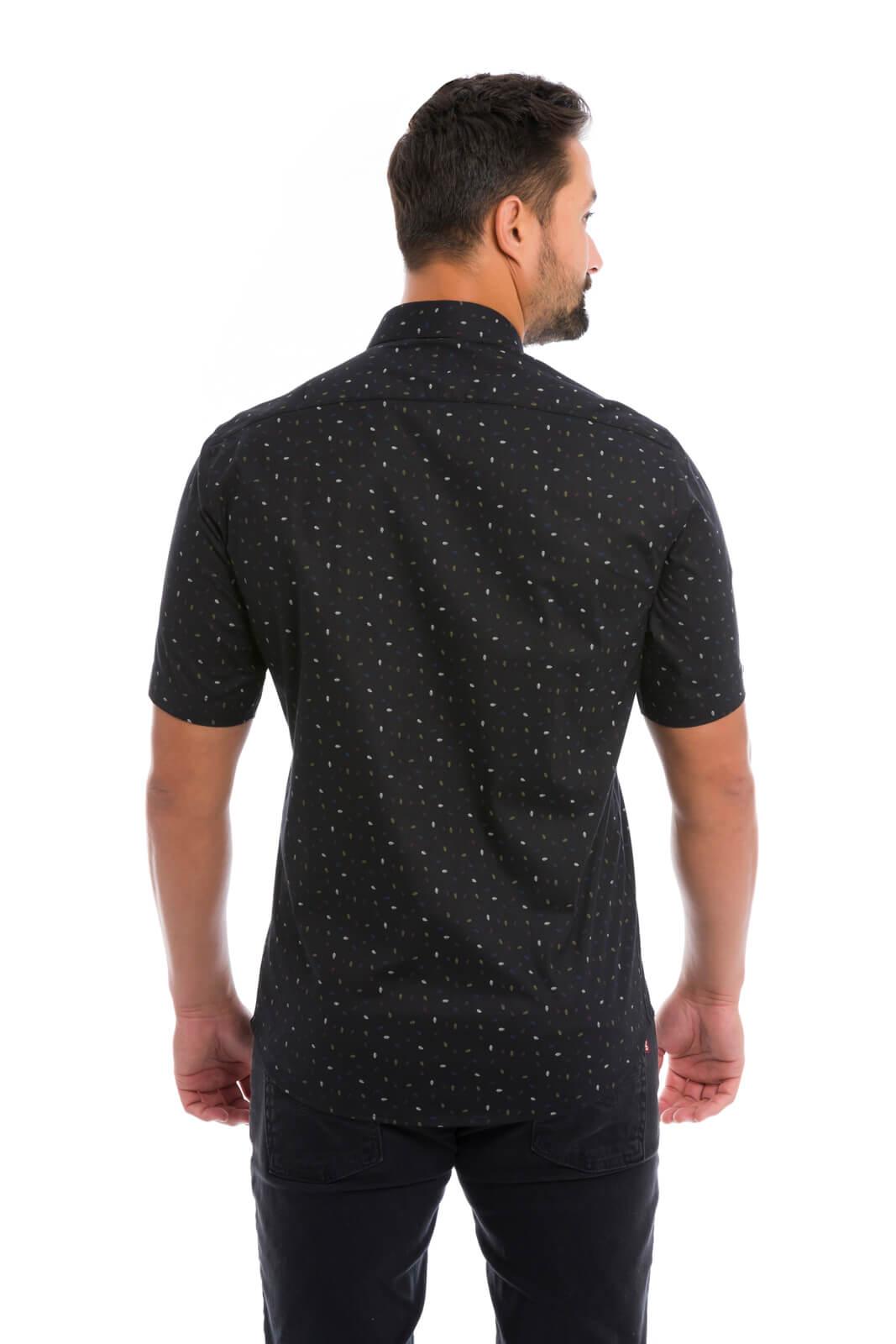Camisa Social Masculina Slim Olimpo Estampada Manga Curta Preta