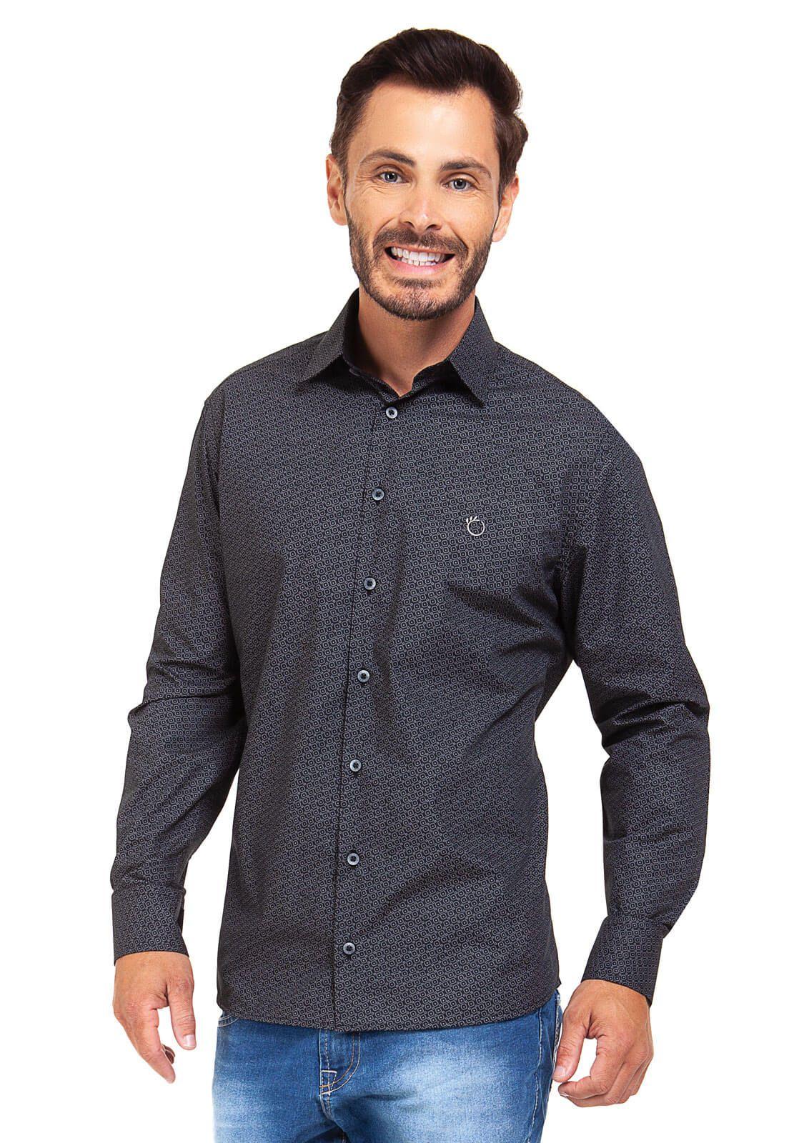 Camisa Social Masculina Slim Olimpo Estampada Manga Longa