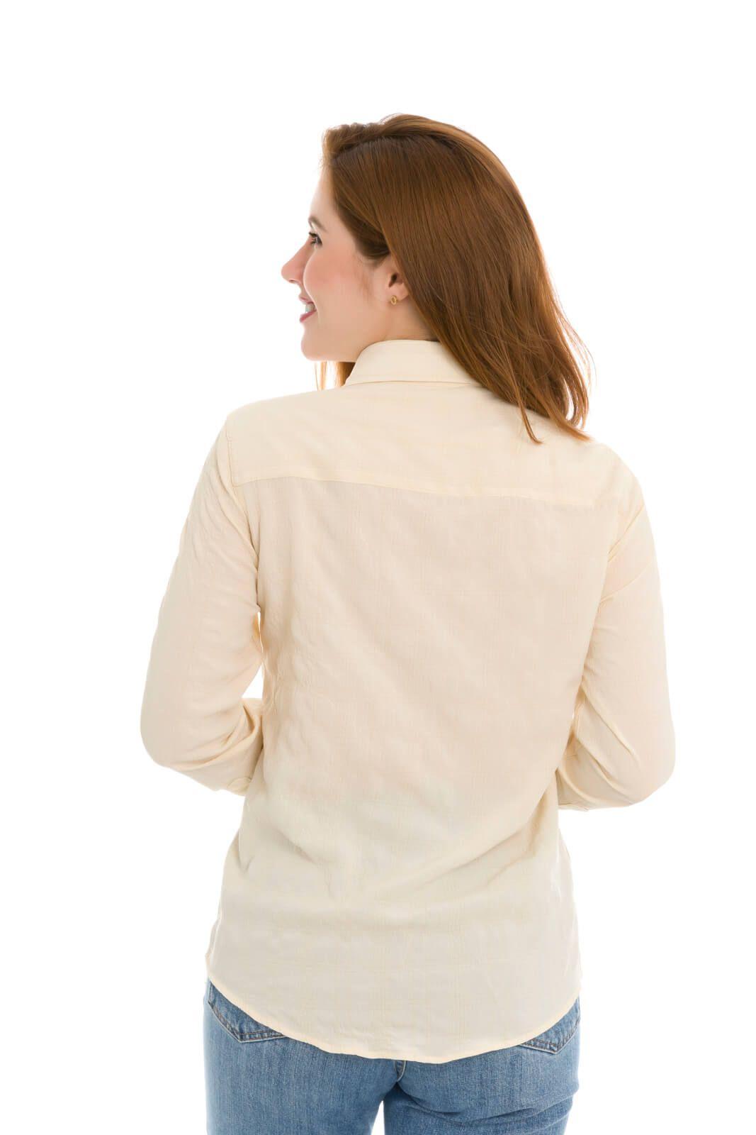 Camisa Camisete Feminino Olimpo Estampada Manga Longa Bege