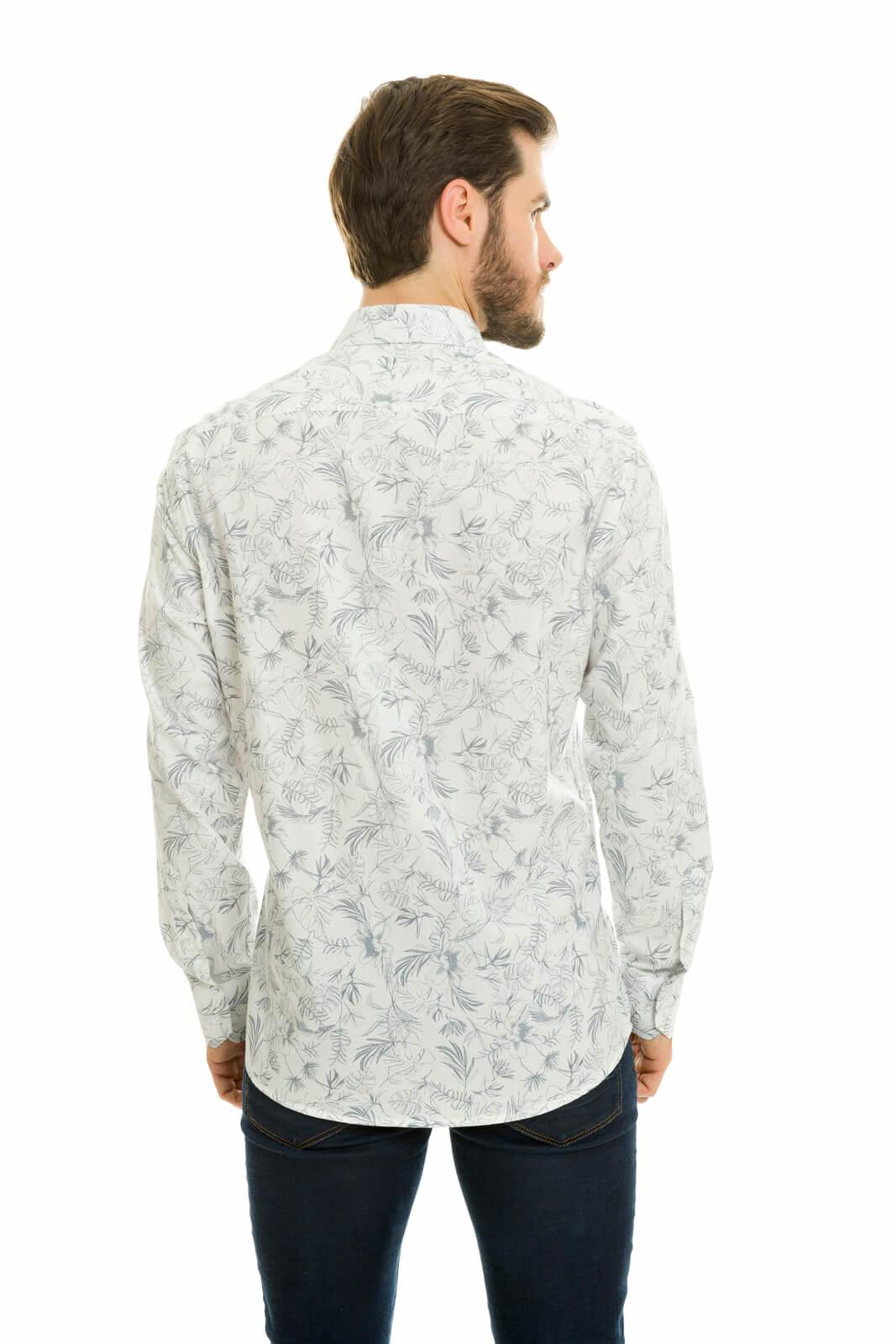 Camisa Social Masculina Slim Olimpo Floral Manga Longa Branca