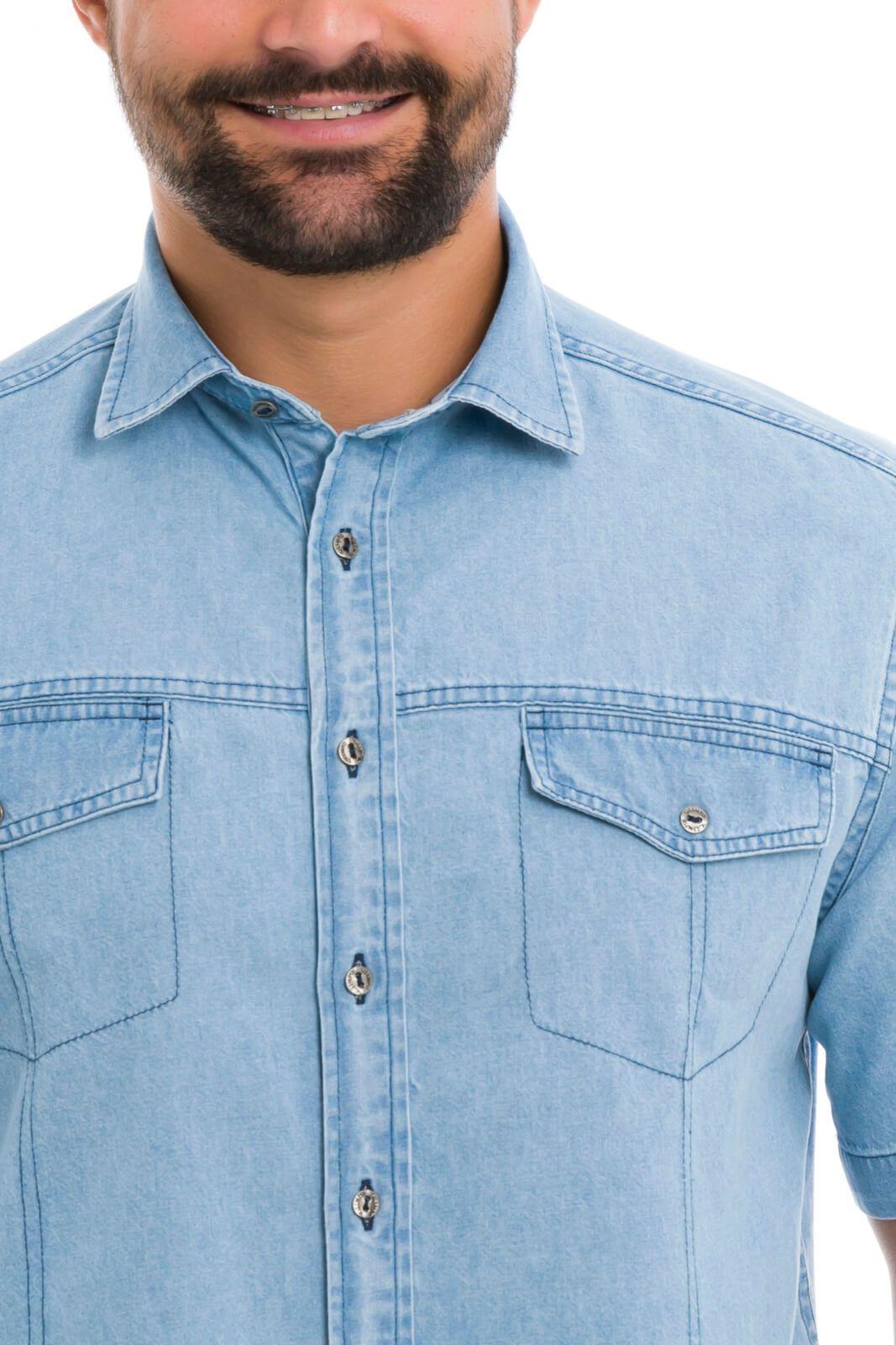 Camisa Social Jeans Slim Olimpo com Bolsos Manga Curta