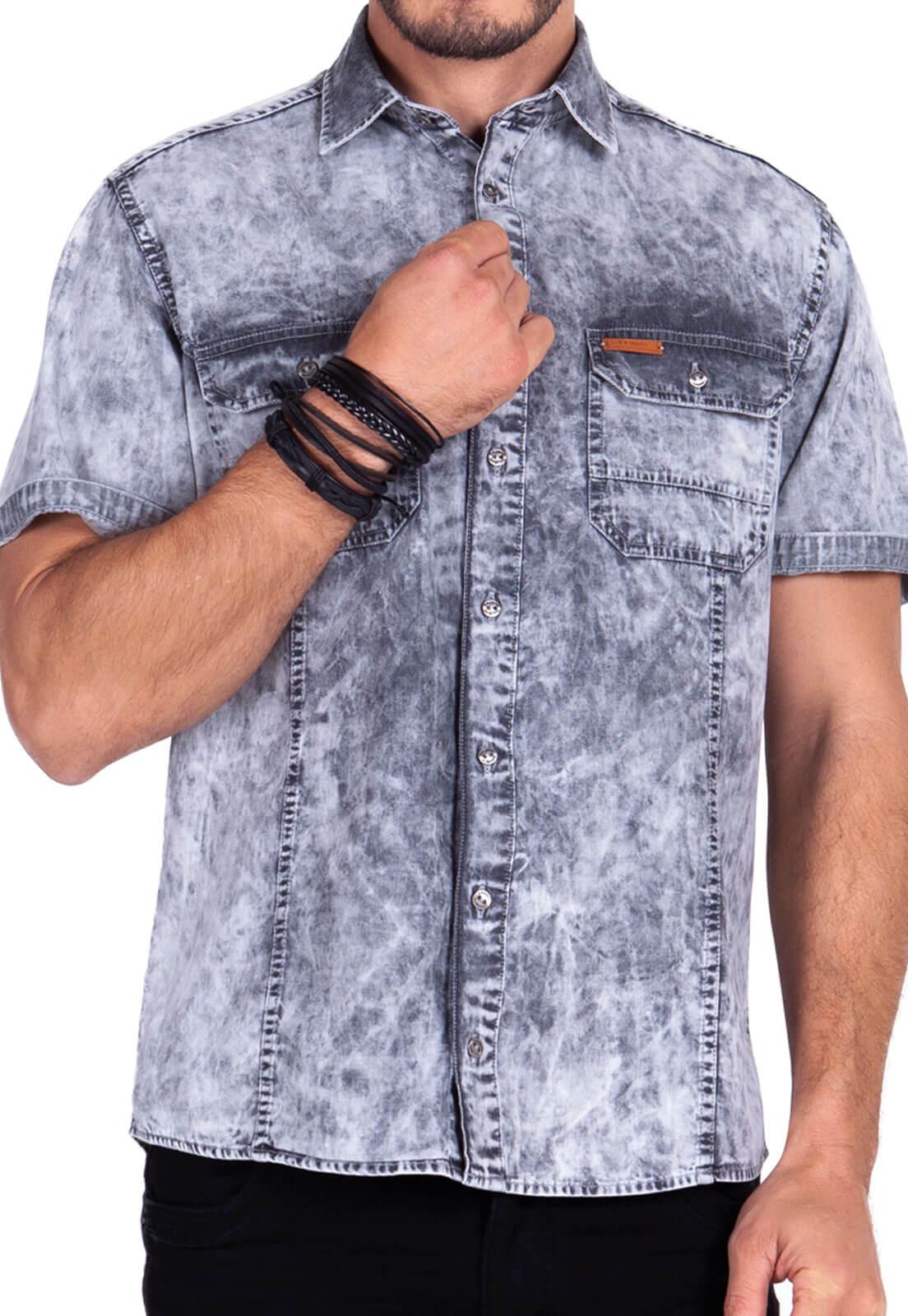 Camisa Olimpo Jeans Marmorizada Manga Curta