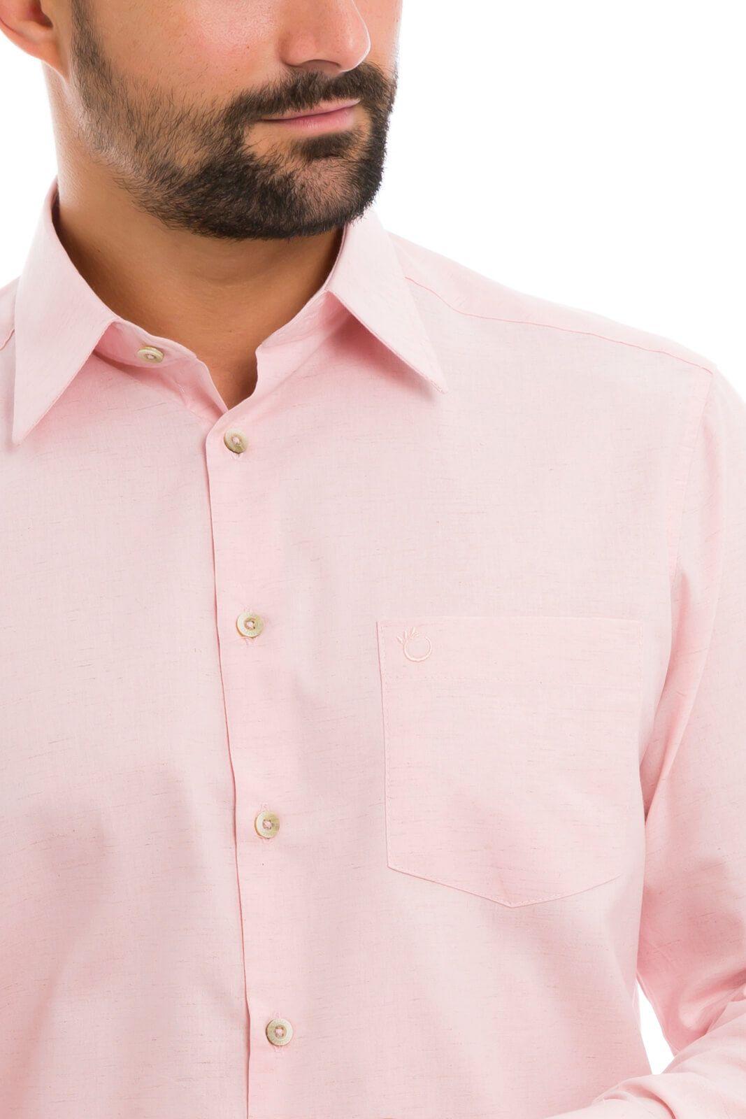 Camisa Social Masculina de Linho com Bolso Manga Longa