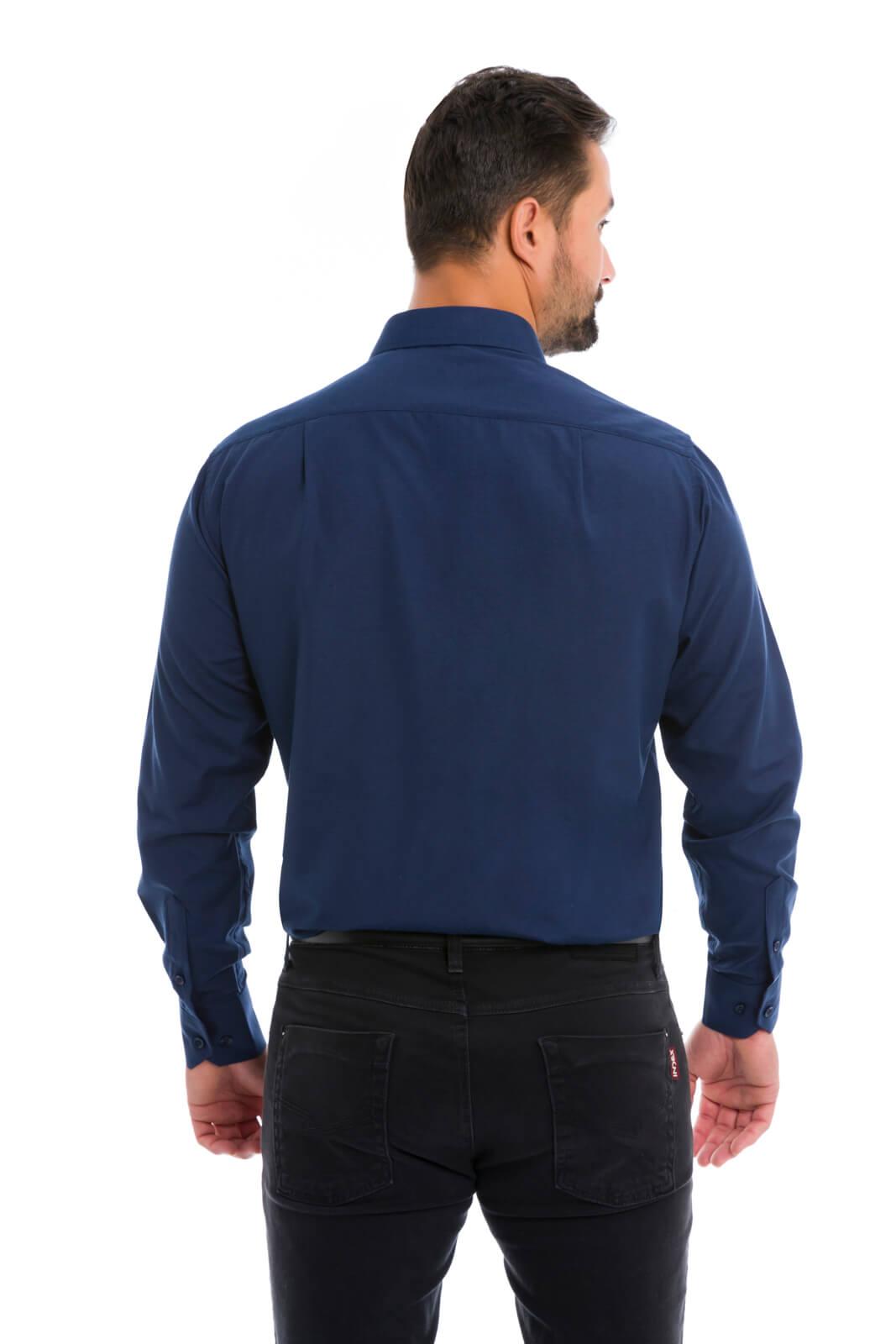 Camisa Social Masculina Olimpo Lisa com Bolso Manga Longa