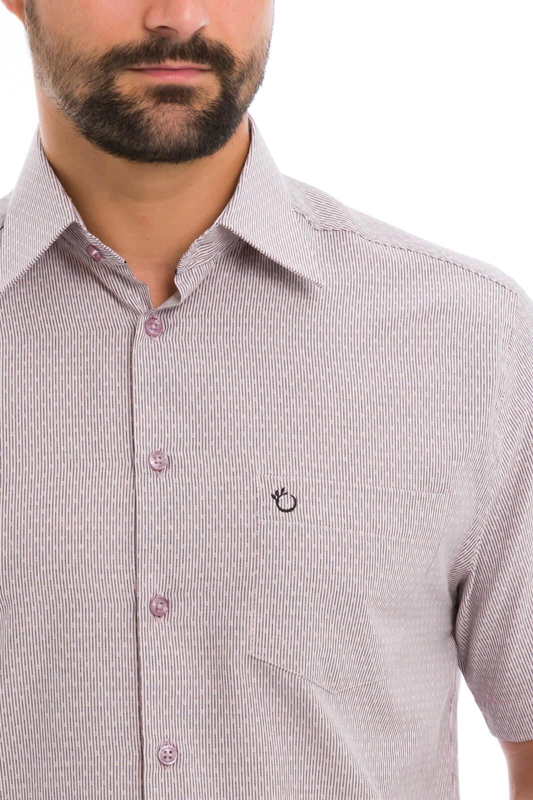Camisa Olimpo Listra Fina Maquinetada com Bolso Manga Curta Rosa