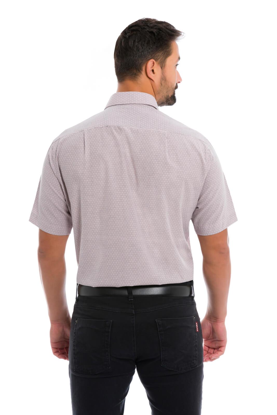 Camisa Social Masculina Olimpo Listra Fina Maquinetada com Bolso Manga Curta Rosa