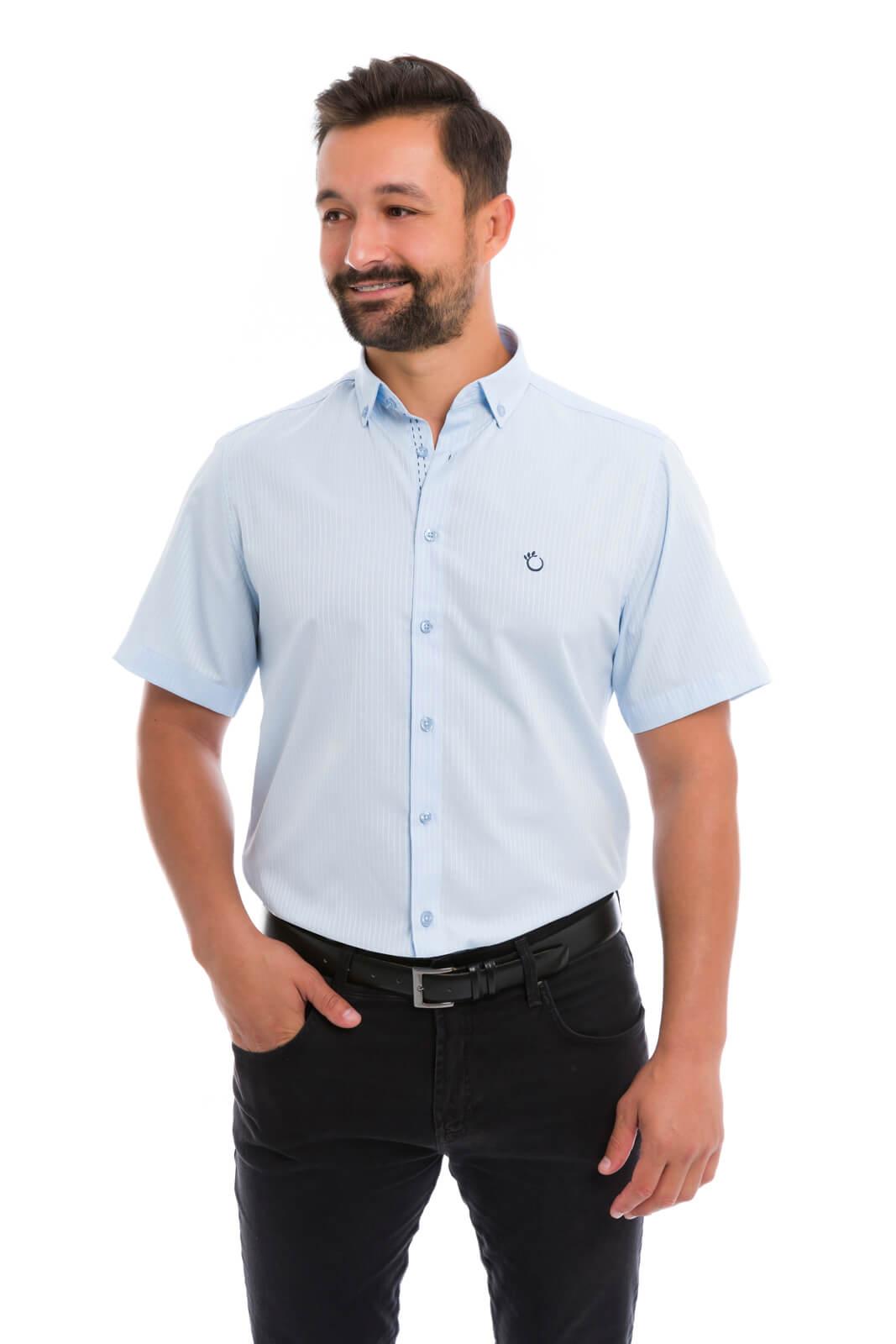 Camisa Social Masculina Slim Olimpo Listrada Manga Curta