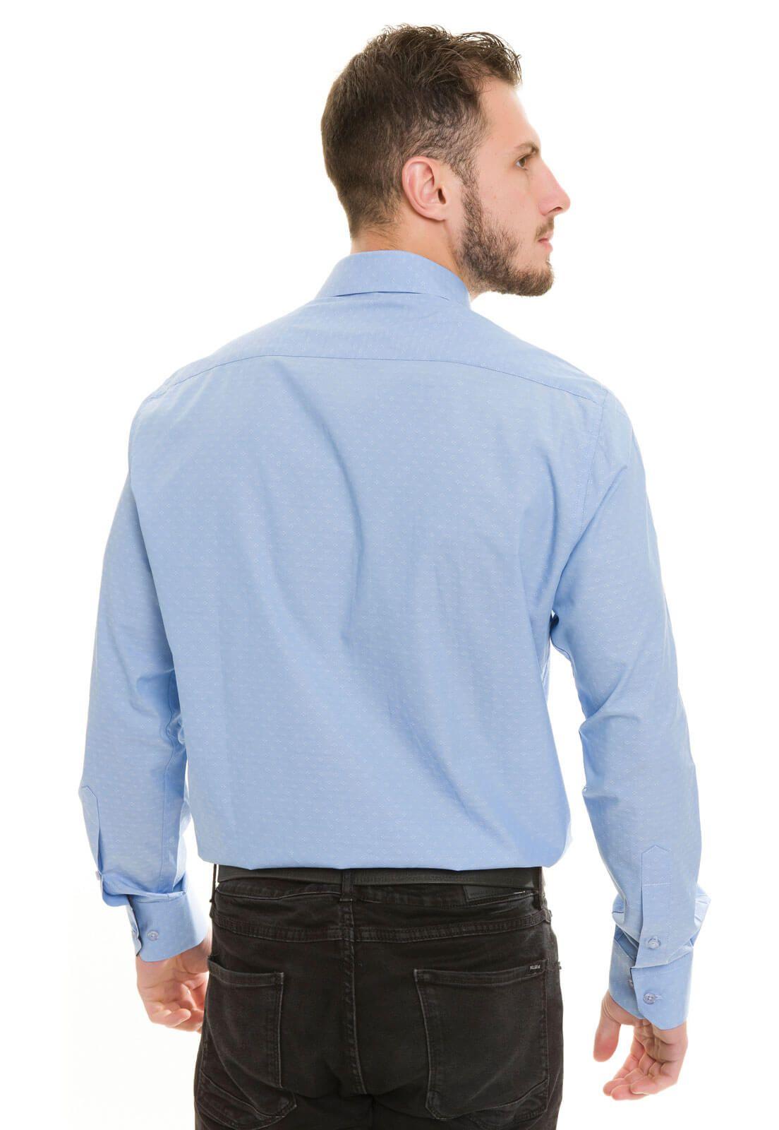 Camisa Social Slim Olimpo Maquinetada 100% Algodão Fio 50 Manga Longa