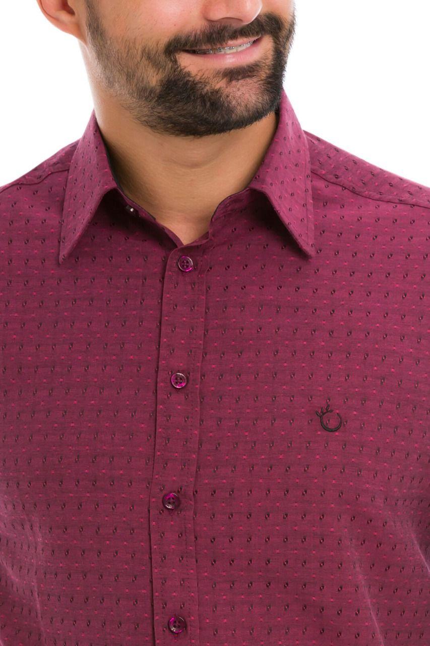 Camisa Social Masculina Olimpo Maquinetada com Bolso Manga Curta Bordô