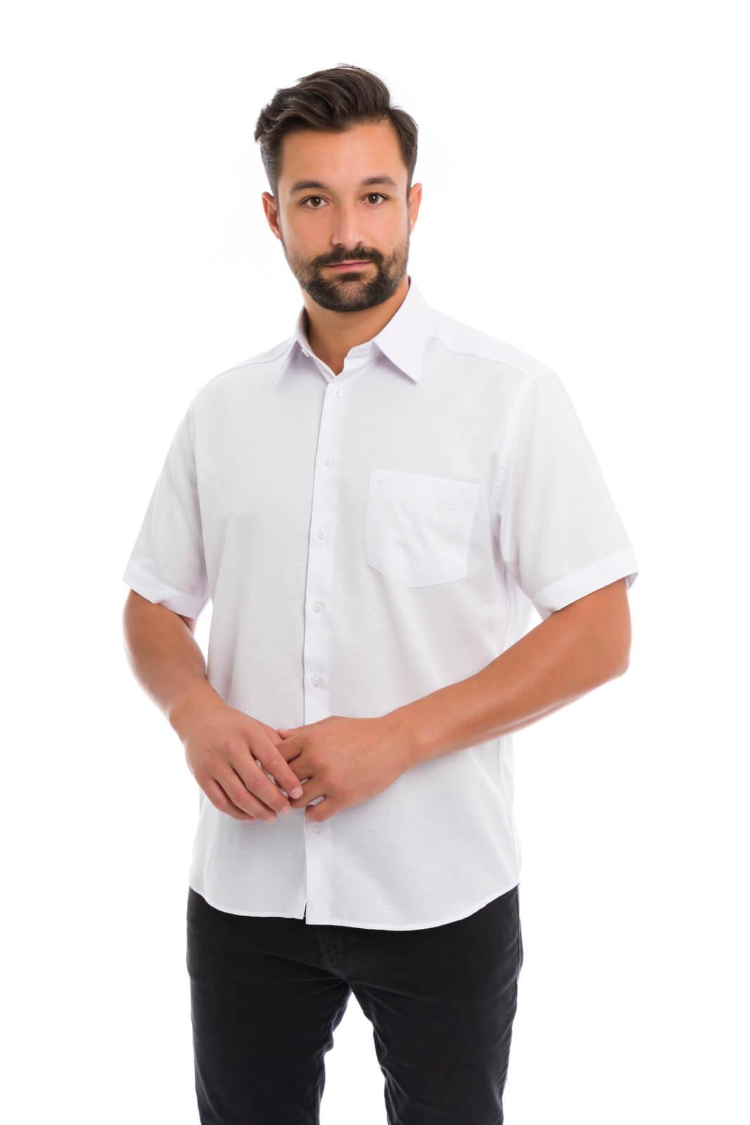 Camisa Social Masculina Olimpo Maquinetada com Bolso Manga Curta