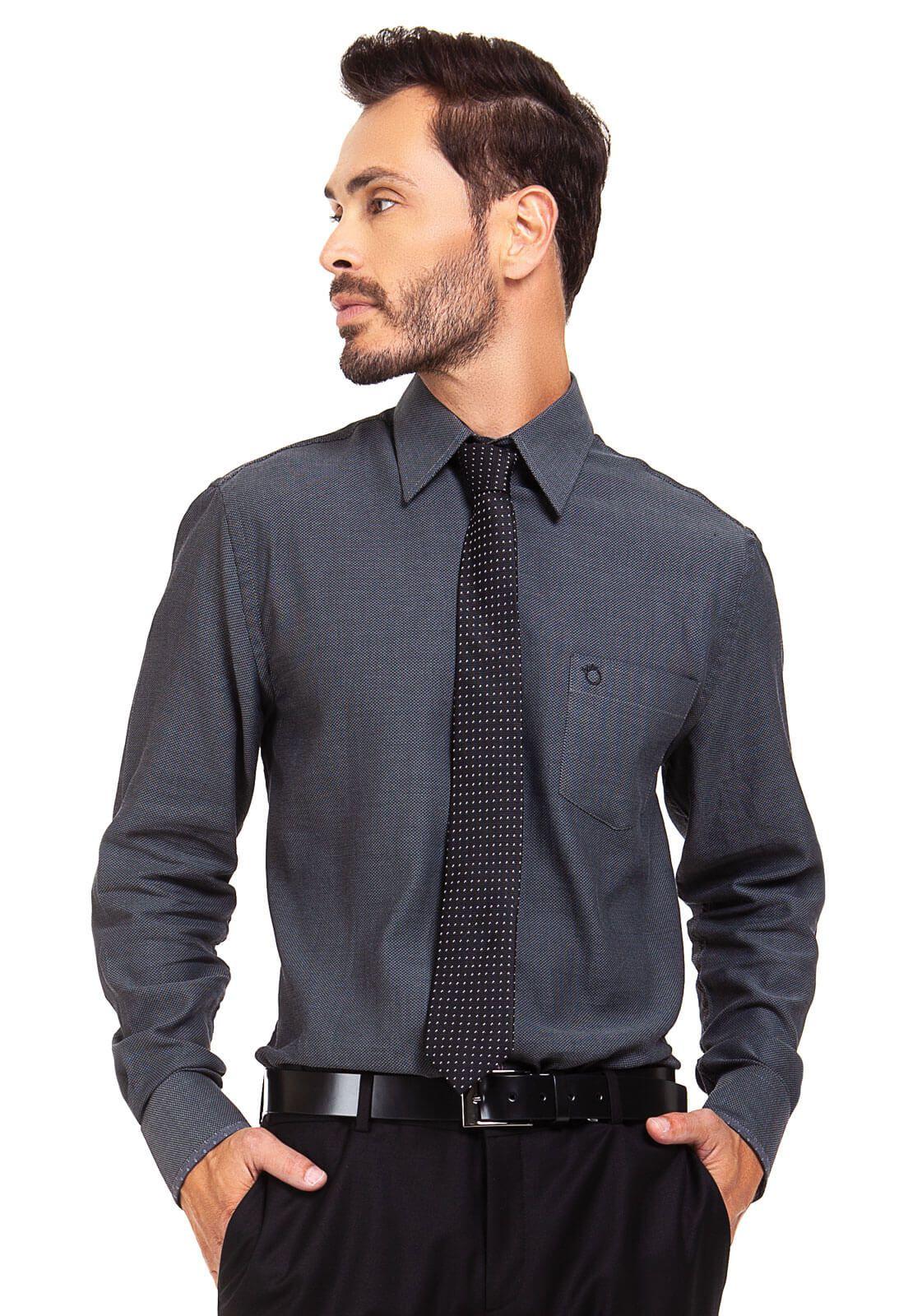 Camisa Olimpo Maquinetada com Bolso Manga Longa