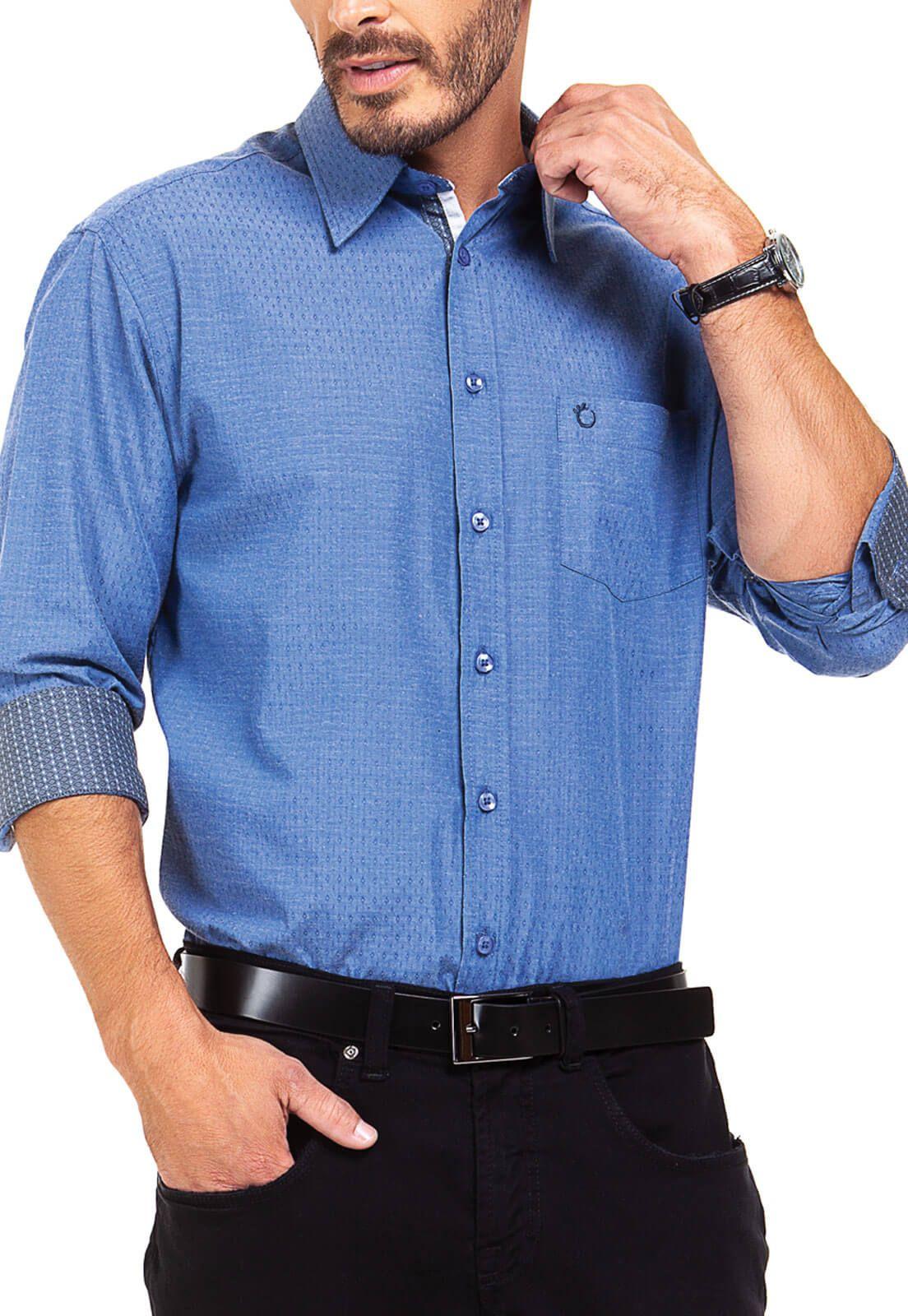 Camisa Social Masculina Olimpo Maquinetada com Bolso Manga Longa Azul
