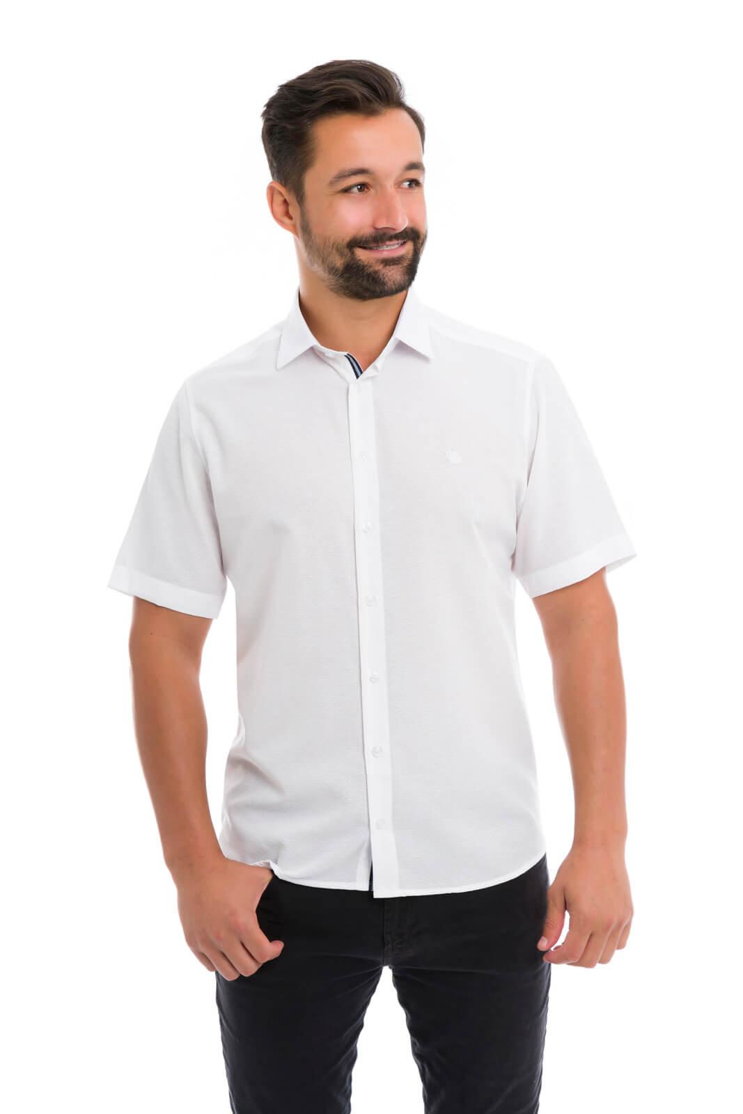 Camisa Social Masculina Slim Olimpo Maquinetada Manga Curta Branca