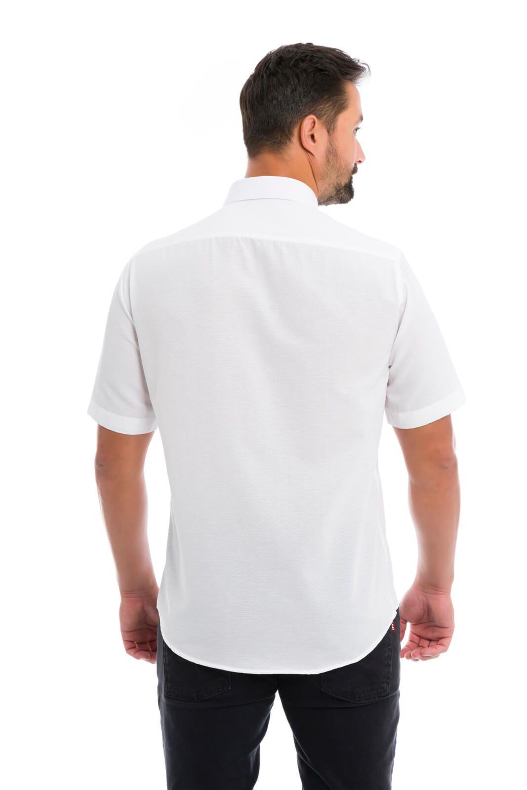 Camisa Social Masculina Slim Olimpo Maquinetada Manga Curta