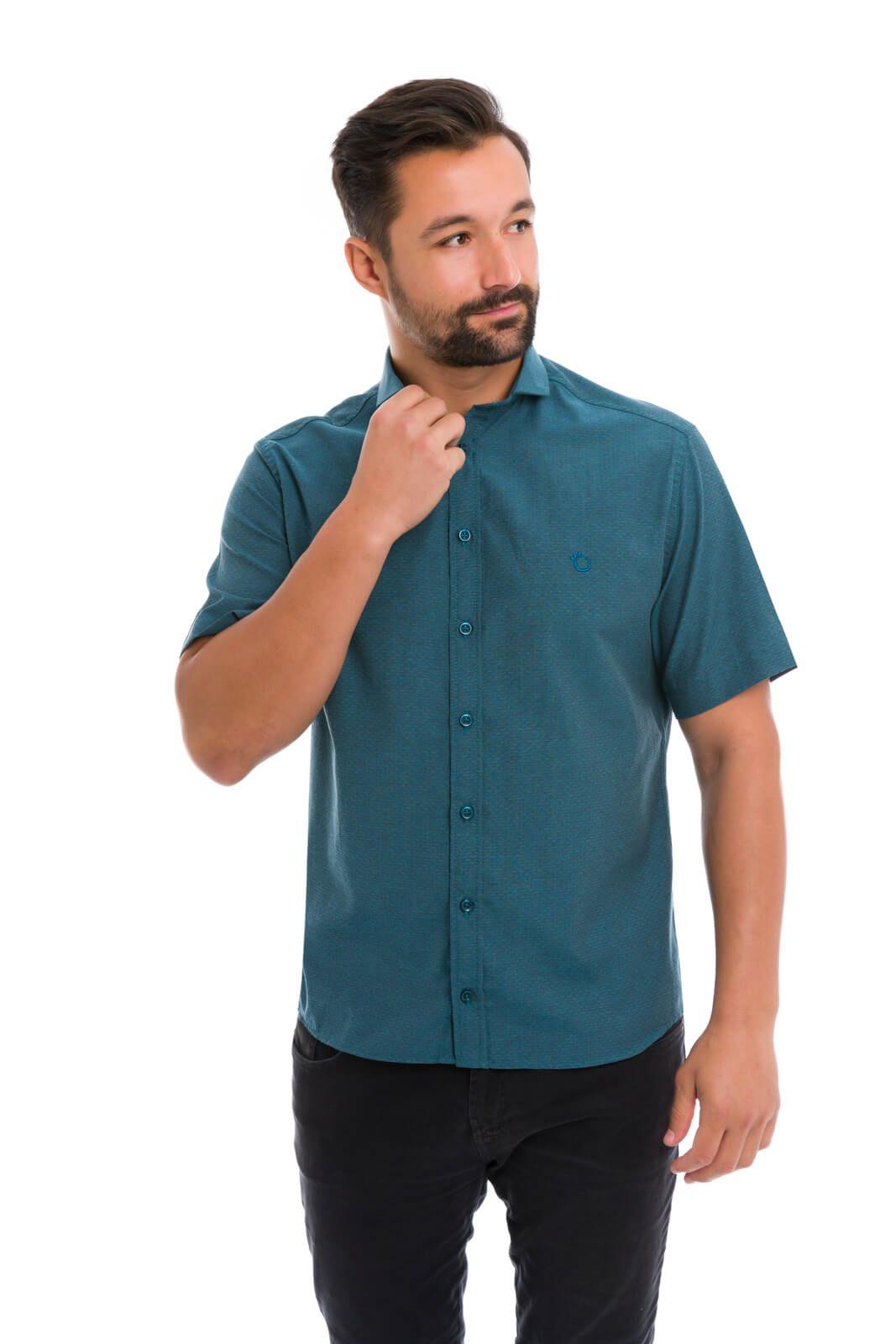 Camisa Social Masculina Slim Olimpo Maquinetada Manga Curta Verde