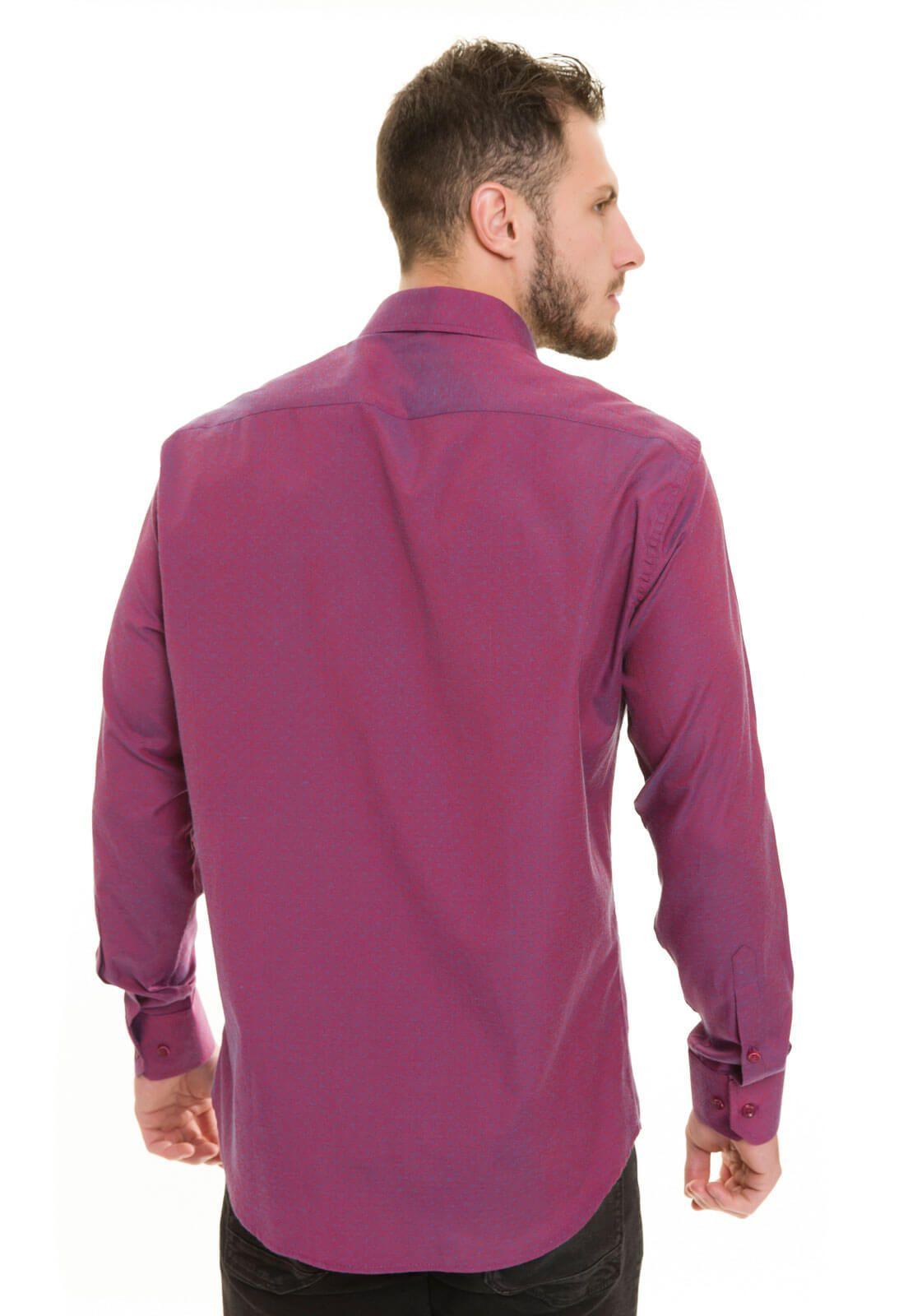 Camisa Social Masculina Slim Olimpo Maquinetada Manga Longa