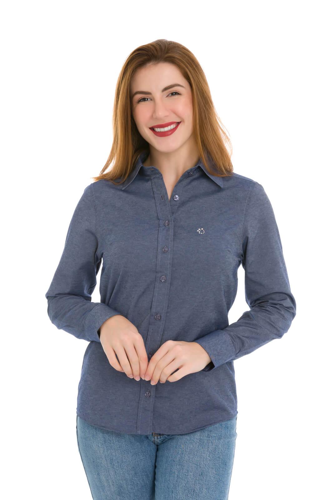 Camisa Social Feminina Olimpo Maquinetada Manga Longa Azul