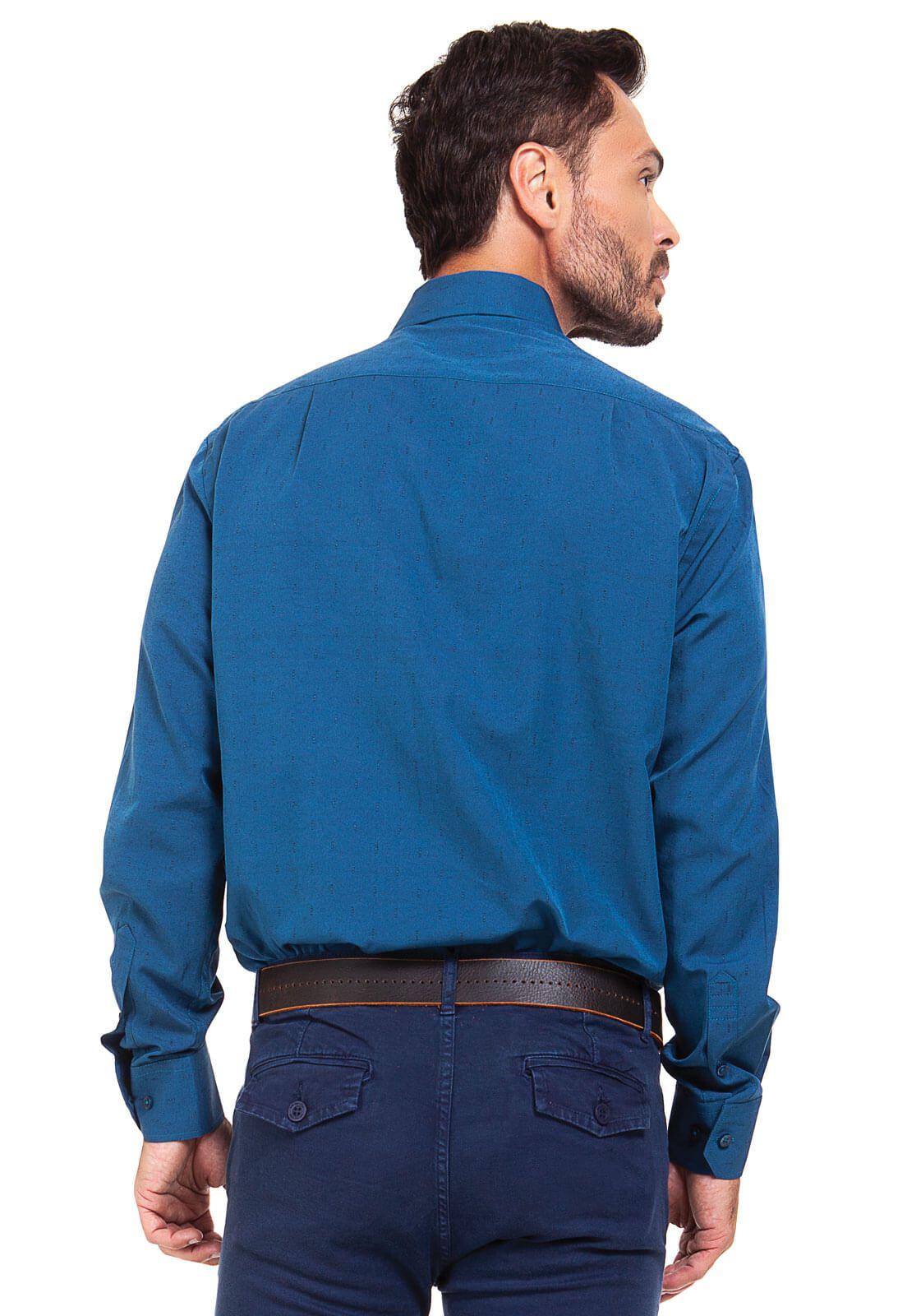 Camisa Social Masculina Olimpo Maquinetada Manga Longa Azul