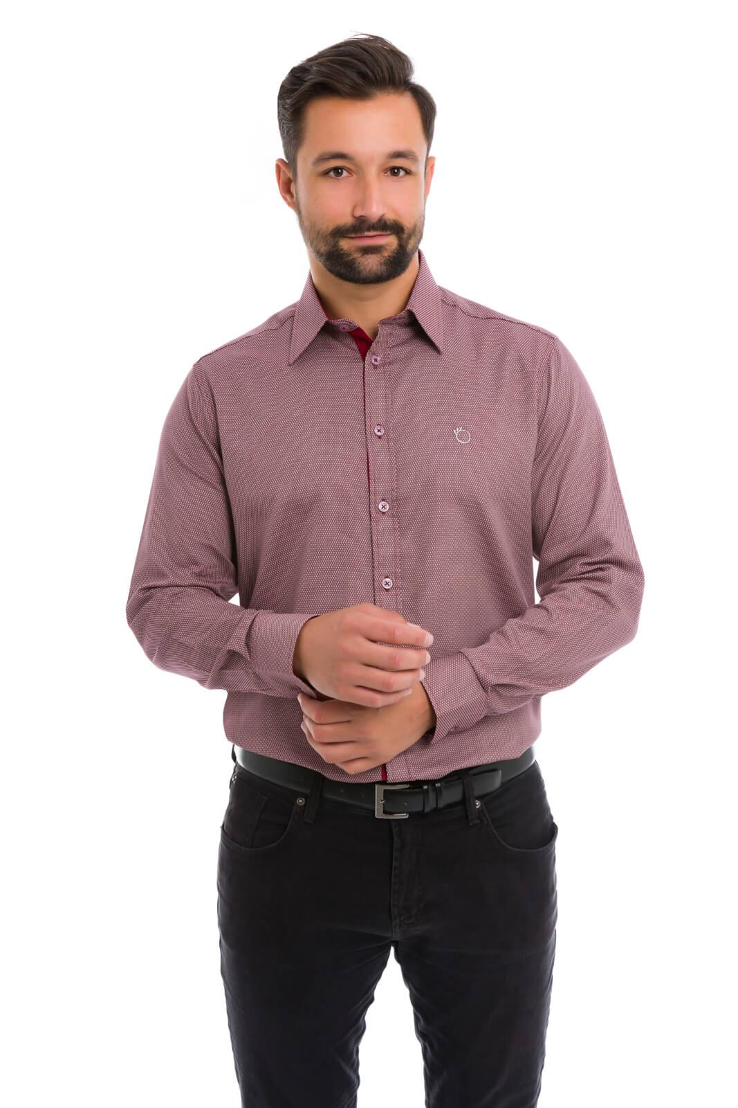 Camisa Social Masculina Olimpo Maquinetada Manga Longa Bordô