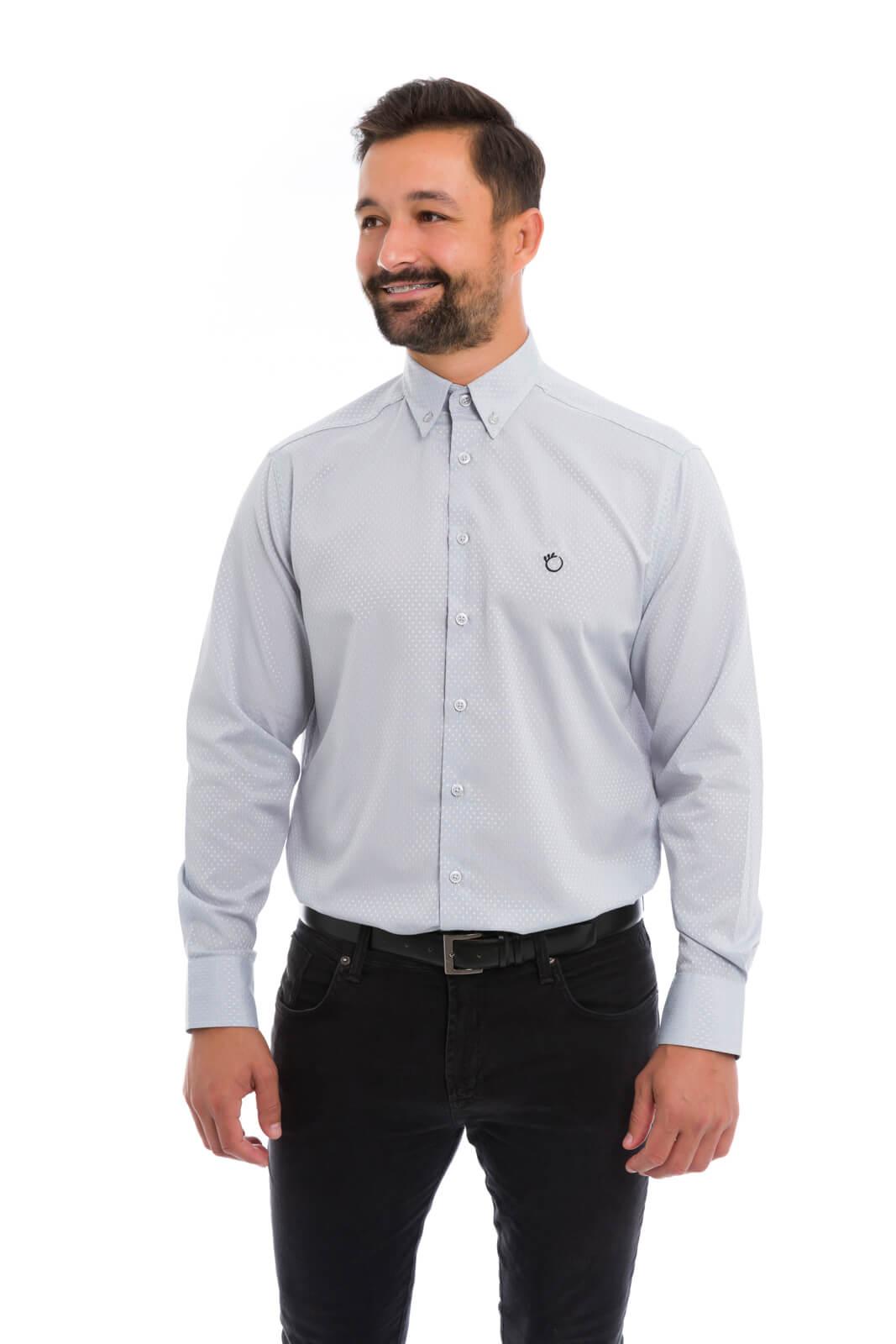 Camisa Olimpo Maquinetada Manga Longa Cinza