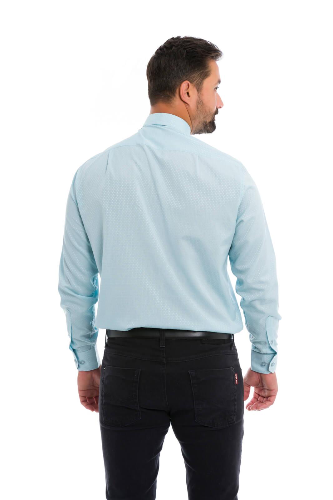 Camisa Social Masculina Olimpo Maquinetada Manga Longa Cinza