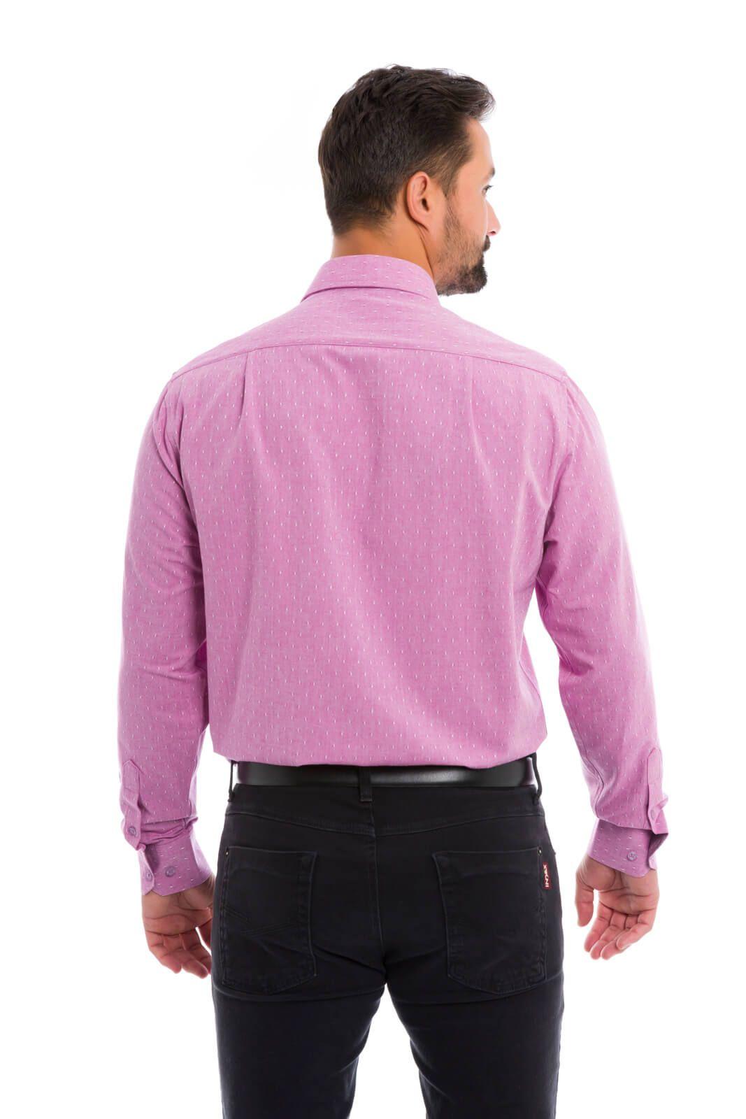 Camisa Social Masculina Olimpo Maquinetada Manga Longa Lilás