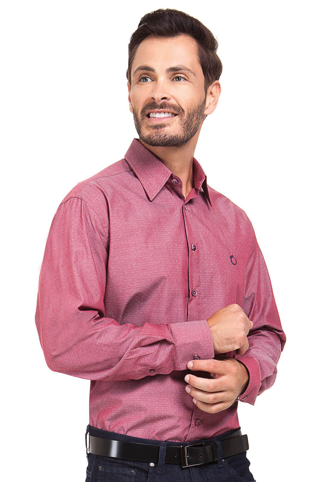 Camisa Social Masculina Olimpo Maquinetada Manga Longa Vermelha