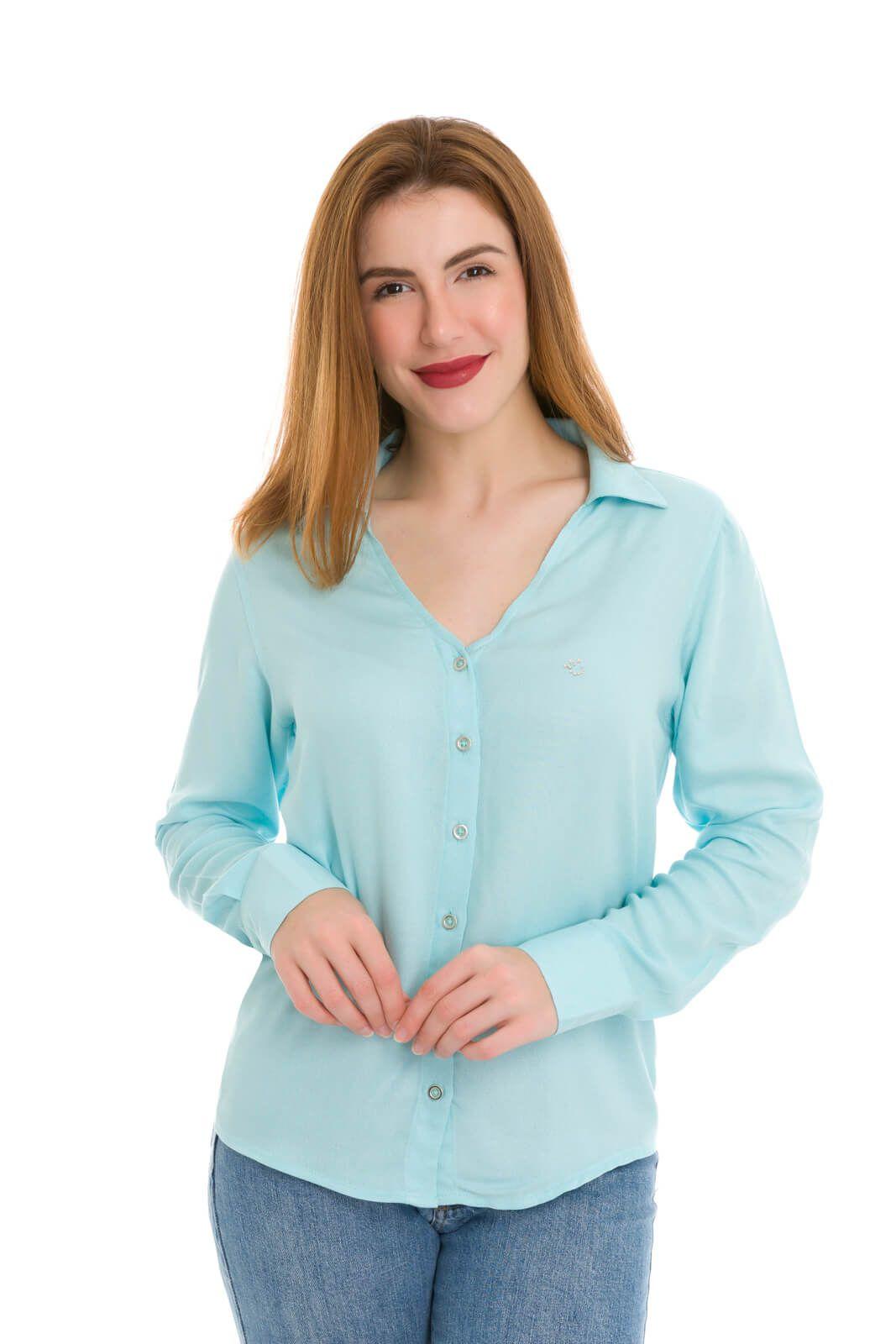 Camisa Camisete Feminino Olimpo Viscose Decote V Manga Longa Azul