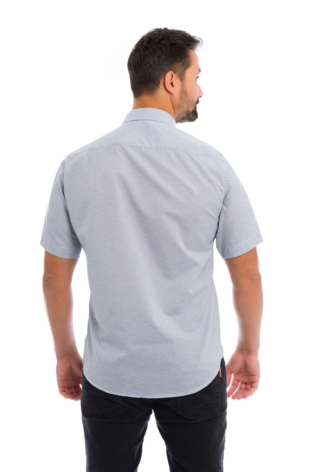Camisa Social Masculina Slim Olimpo Xadrez Manga Curta
