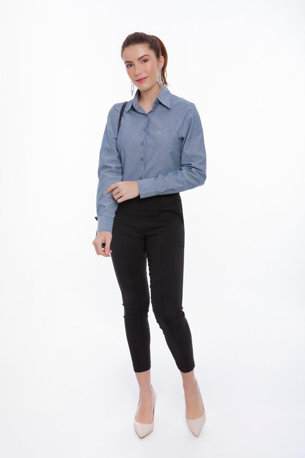Camisa Social Feminina Olimpo Lisa Manga Longa Não Amassa