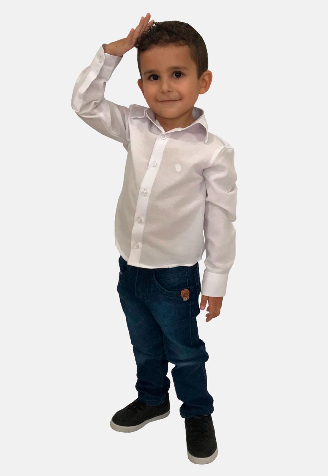Camisa Social Infantil Olimpo Lisa Manga Longa