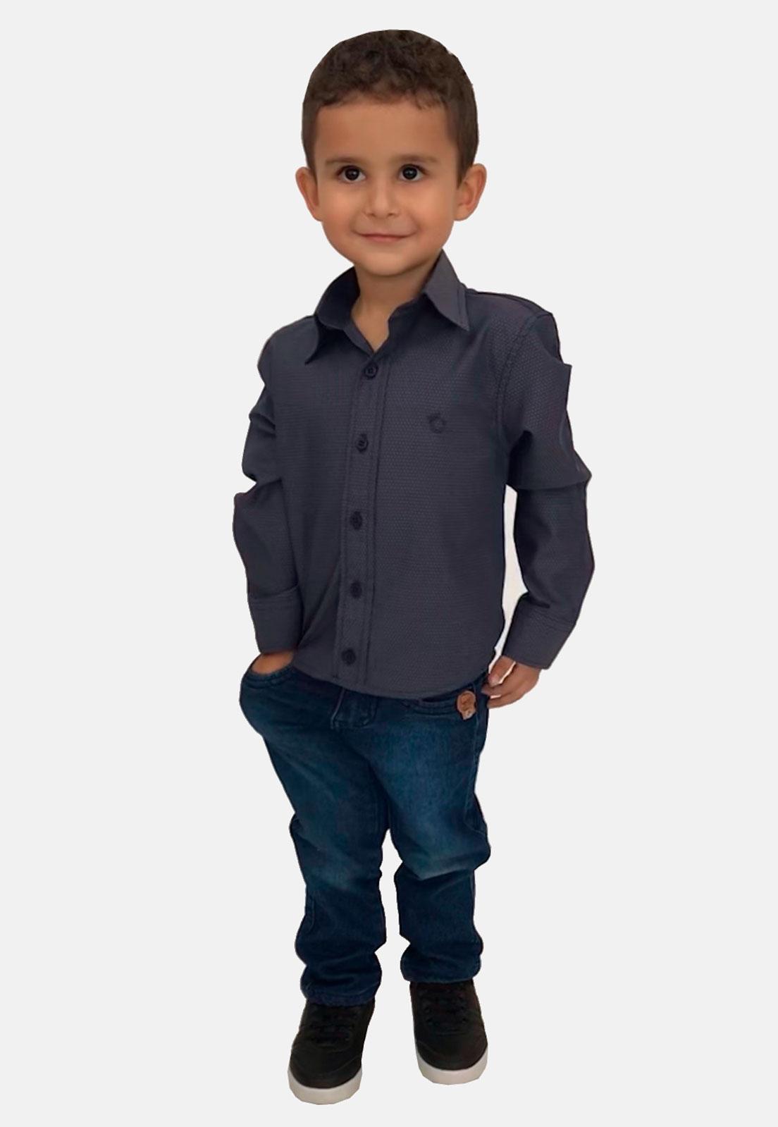 Camisa Social Infantil Olimpo Maquinetada Manga Longa