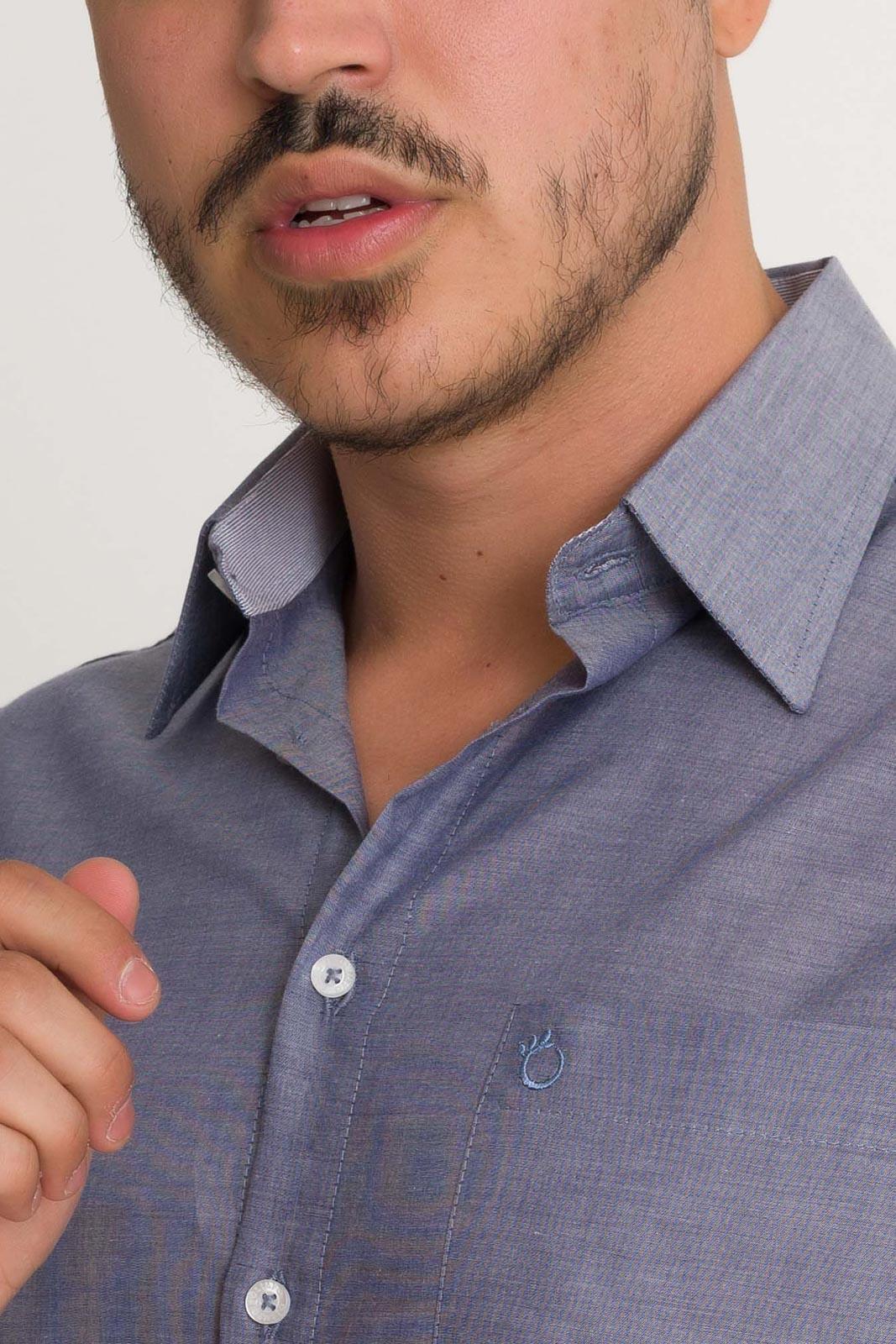 Camisa Social Masculina Olimpo Chambray Liso com Bolso Manga Longa