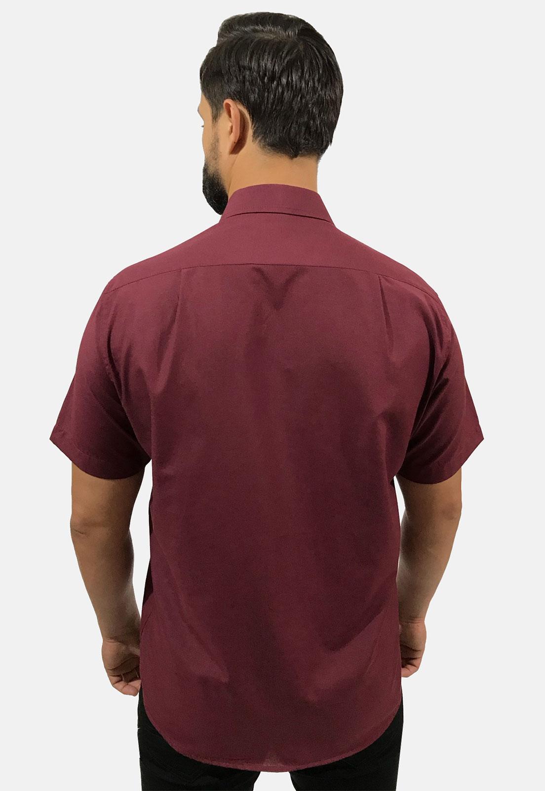Camisa Social Masculina Olimpo Lisa com Bolso Manga Curta