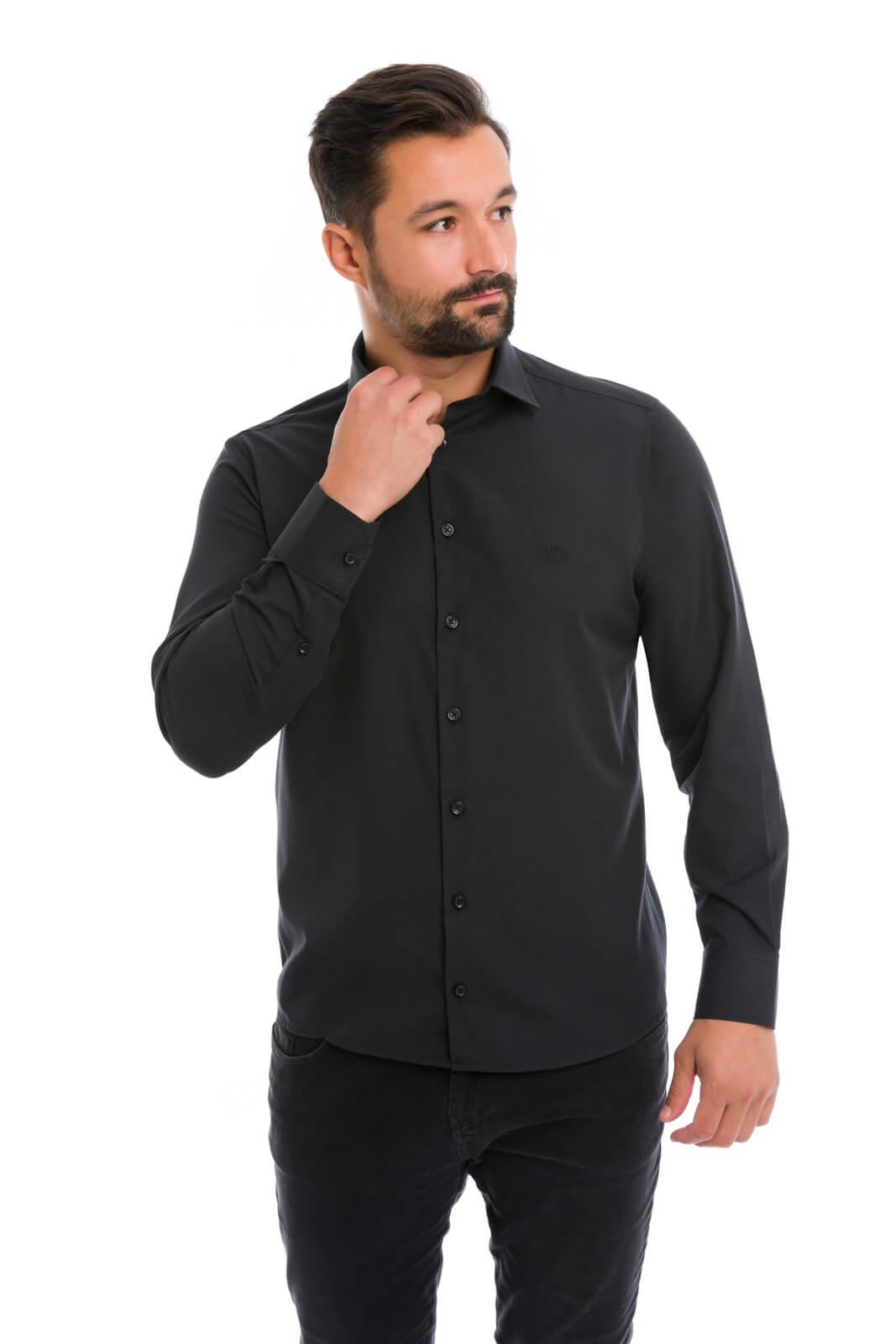 Camisa Social Masculina Olimpo Lisa Elastano Manga Longa Preta