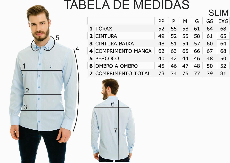 Camisa Social Masculina Olimpo Lisa Fake Jeans Manga Longa