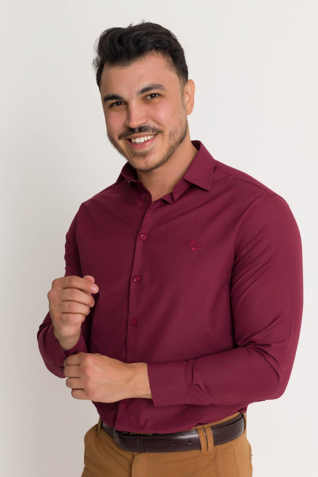 Camisa Social Masculina Olimpo Lisa Manga Longa Não Amassa