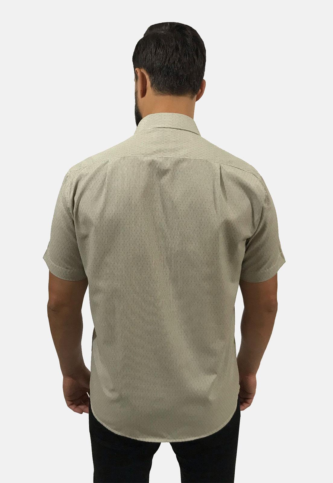 Camisa Social Masculina Olimpo Listra Fina Maquinetada com Bolso Manga Curta