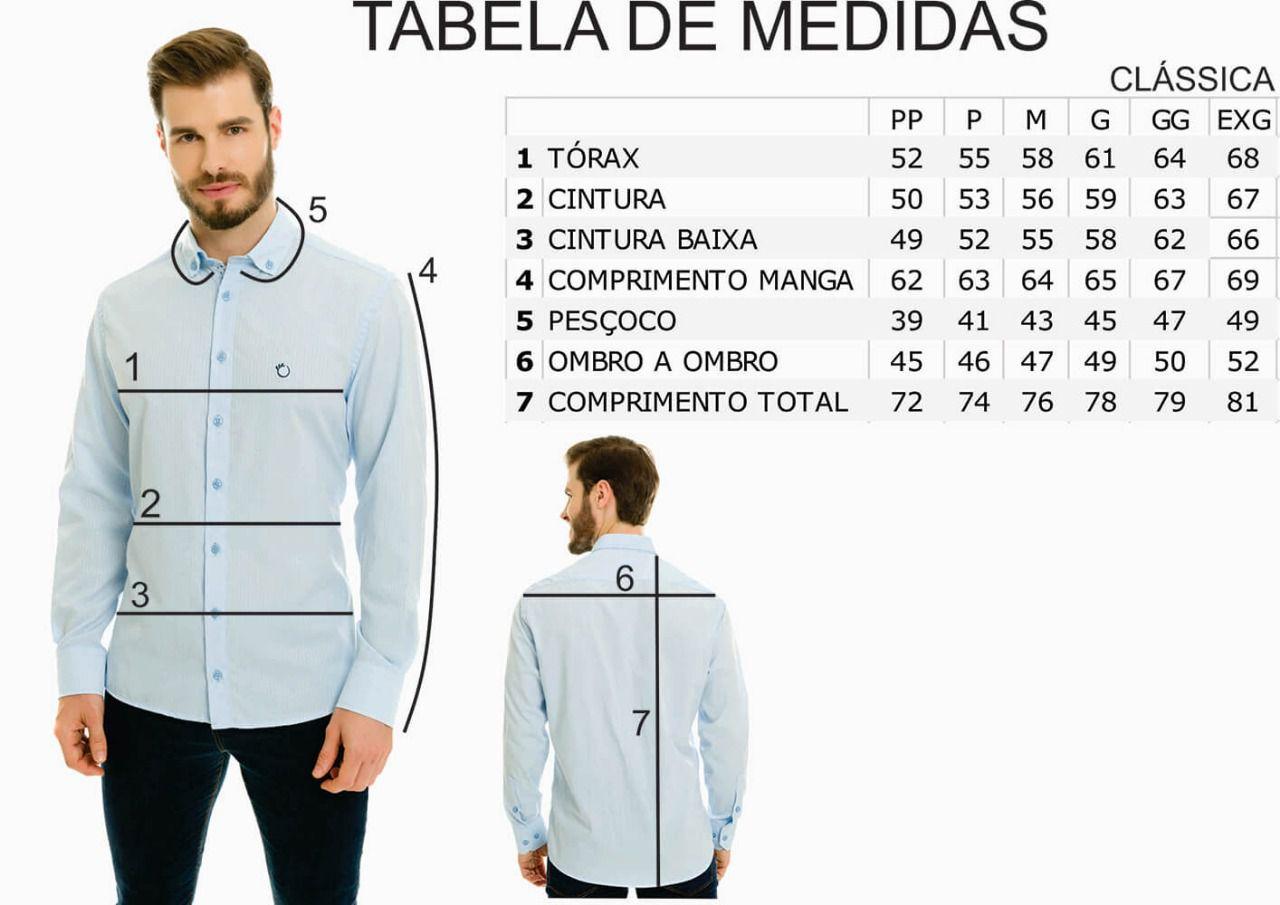 Camisa Social Masculina Olimpo Maquinetada com Bolso Manga Longa