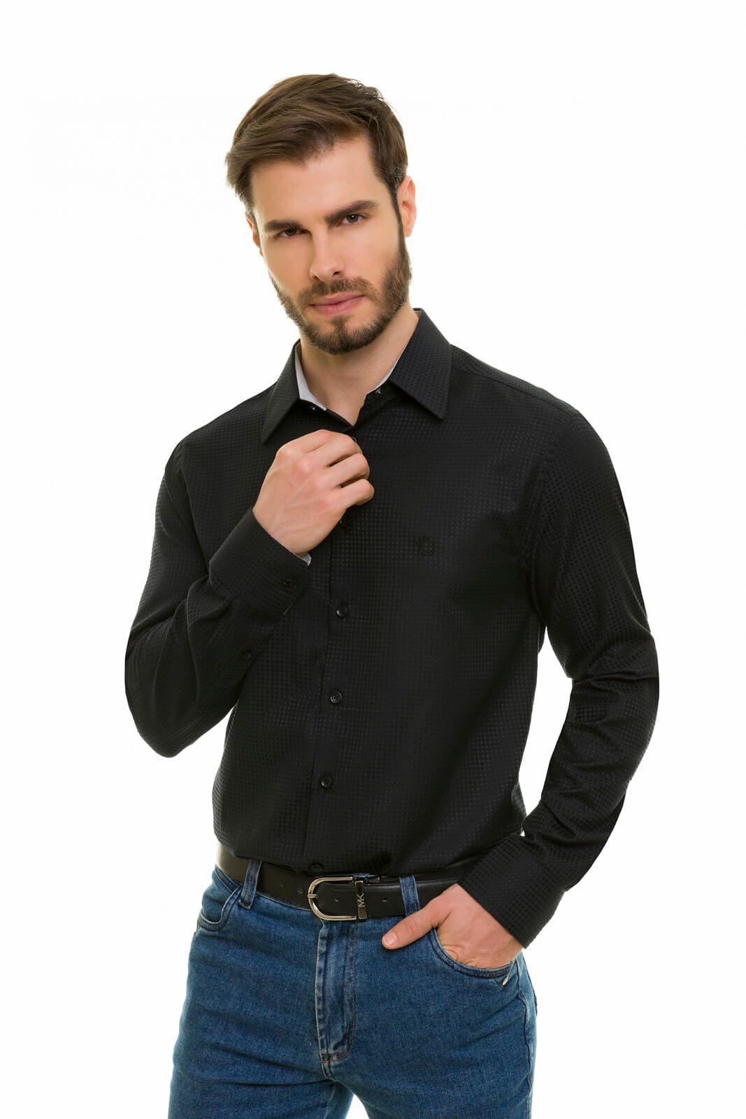 Camisa Social Masculina Olimpo Maquinetada Manga Longa