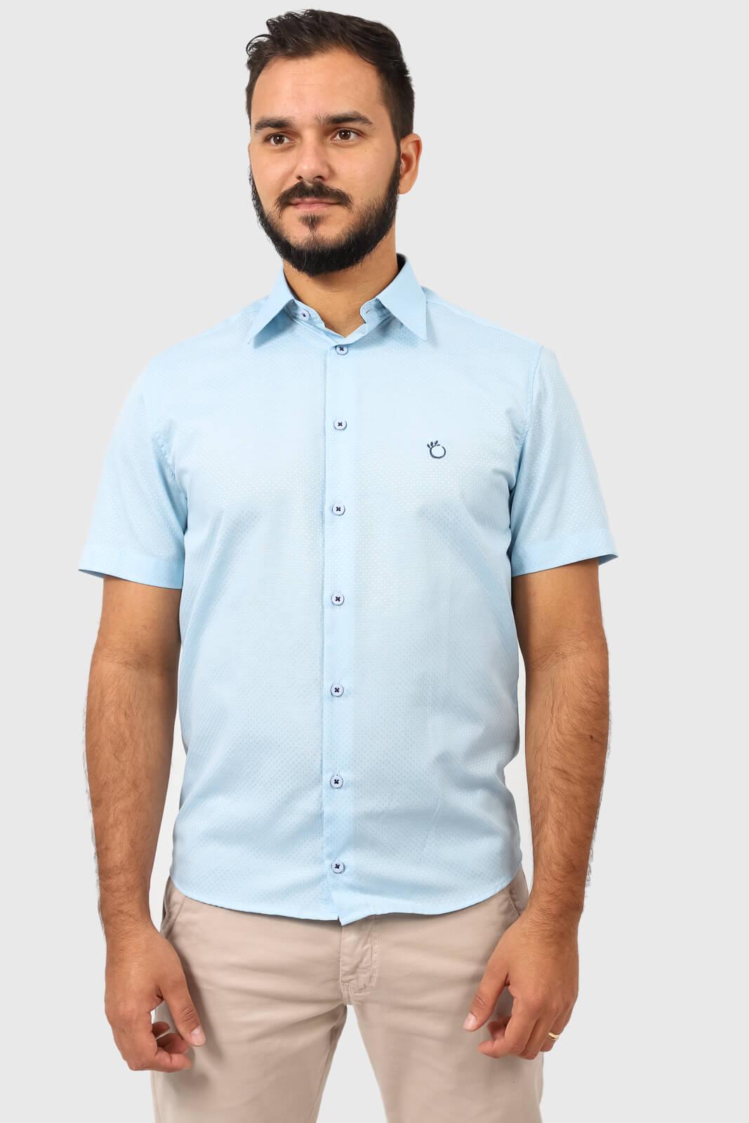 Camisa Social Masculina Olimpo Maquinetada Poá Manga Curta