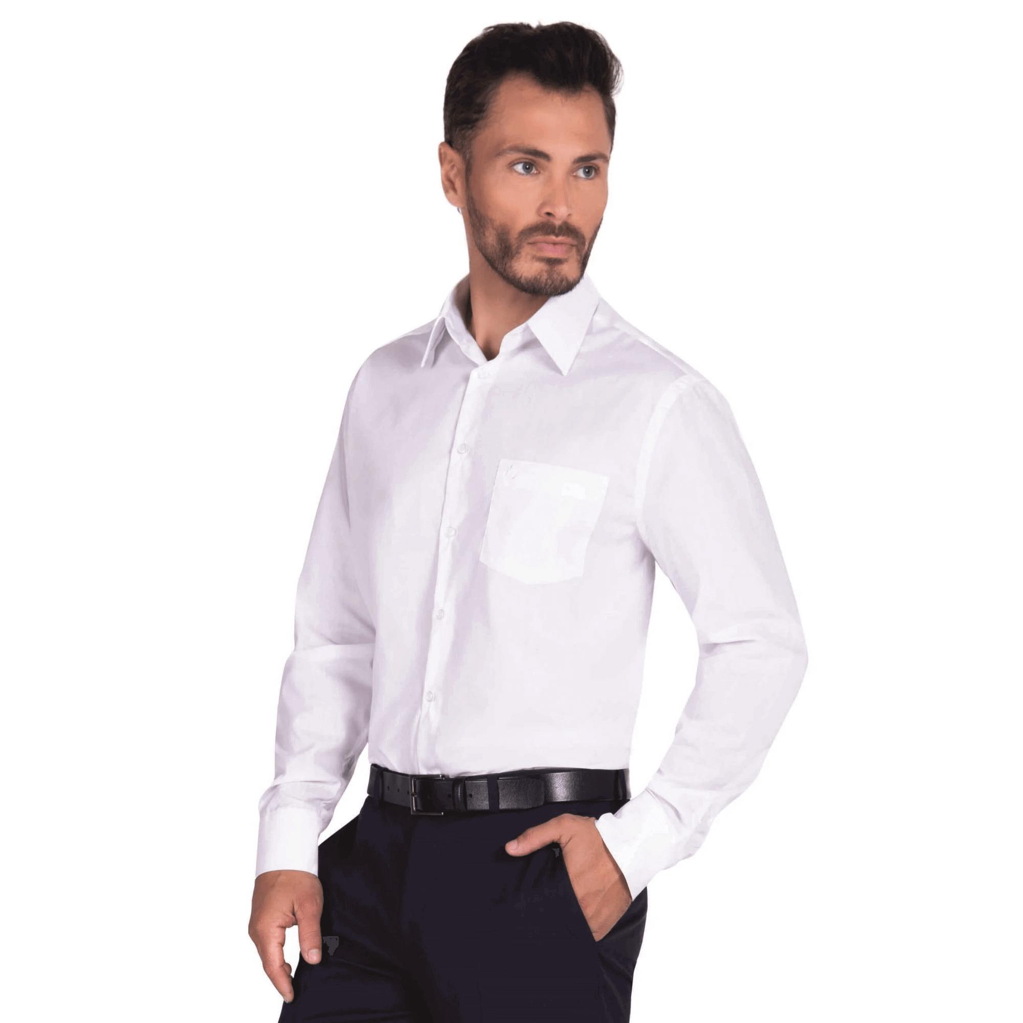 Camisa Social Masculina Olimpo Plus Size Lisa com Bolso Manga Longa