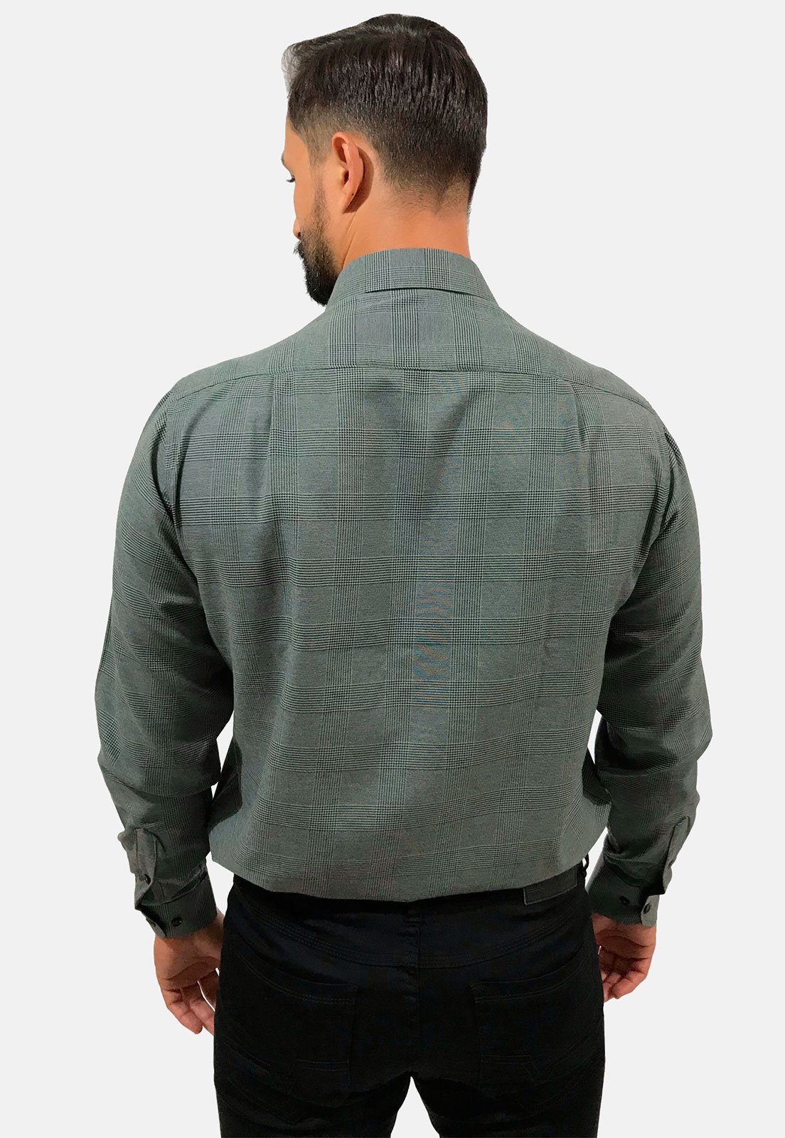 Camisa Social Masculina Olimpo Plus Size Maquinetada com Bolso Manga Longa